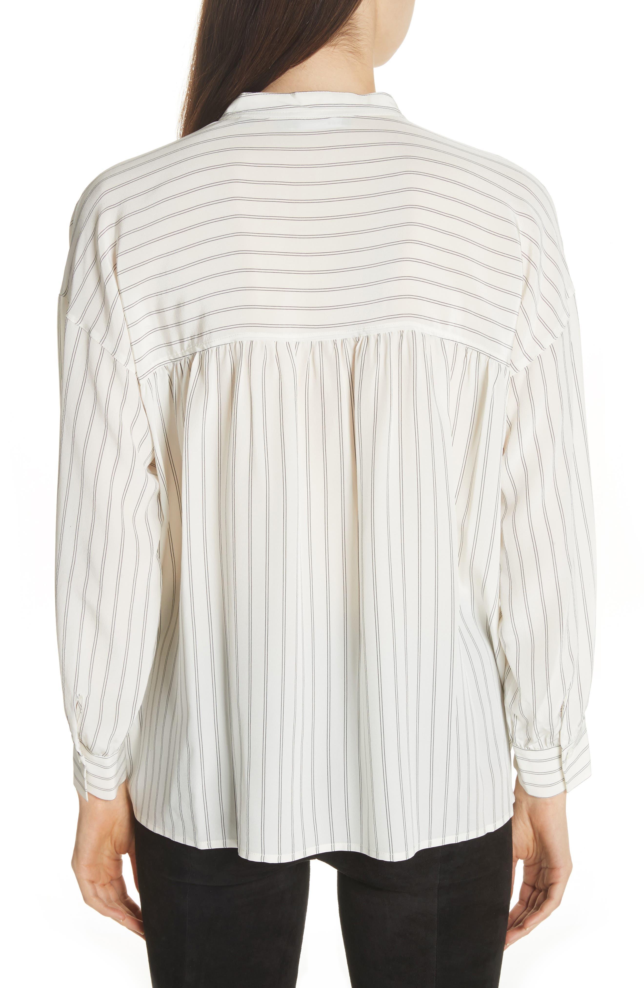 Double Stripe Silk Pullover,                             Alternate thumbnail 2, color,                             Cream