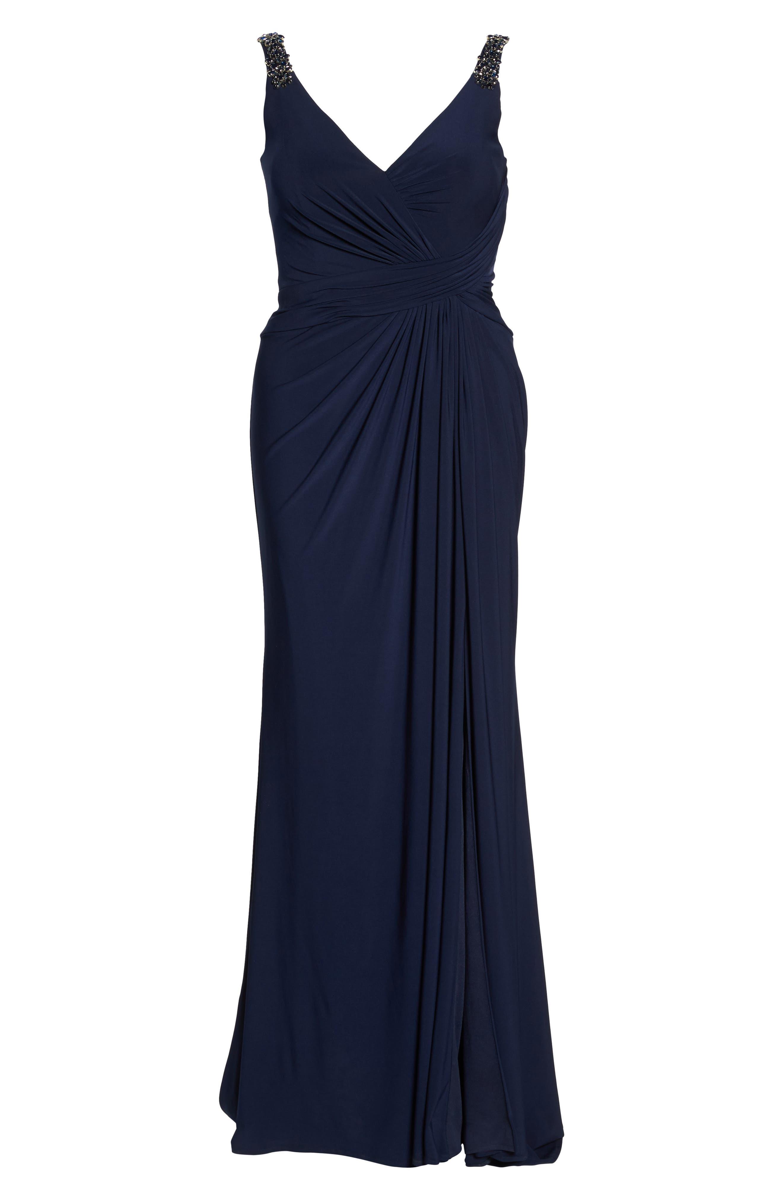 Embellished Shoulder Jersey Gown,                             Alternate thumbnail 6, color,                             Navy