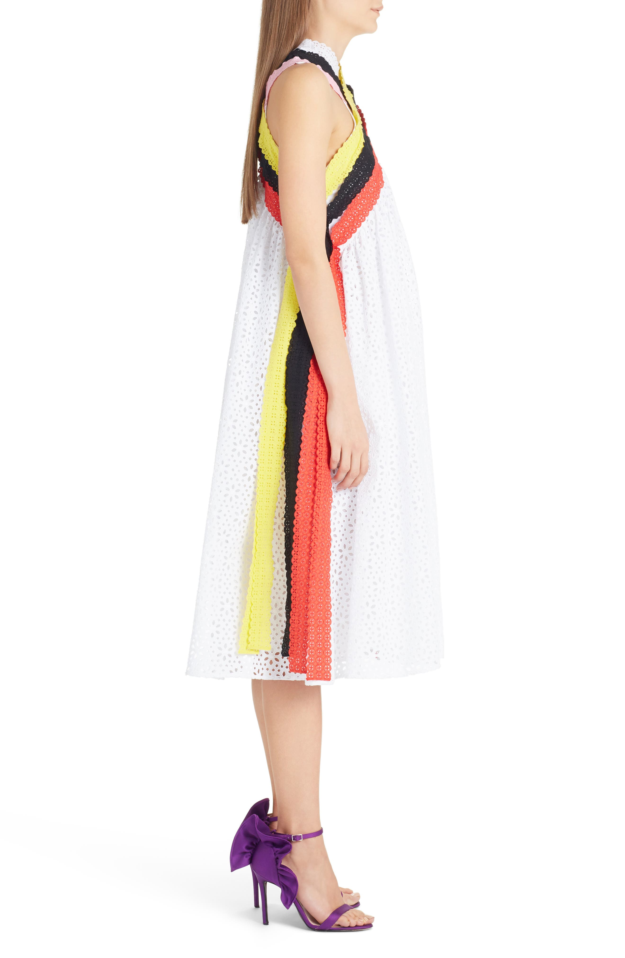 Multicolor Eyelet Midi Dress,                             Alternate thumbnail 3, color,                             White