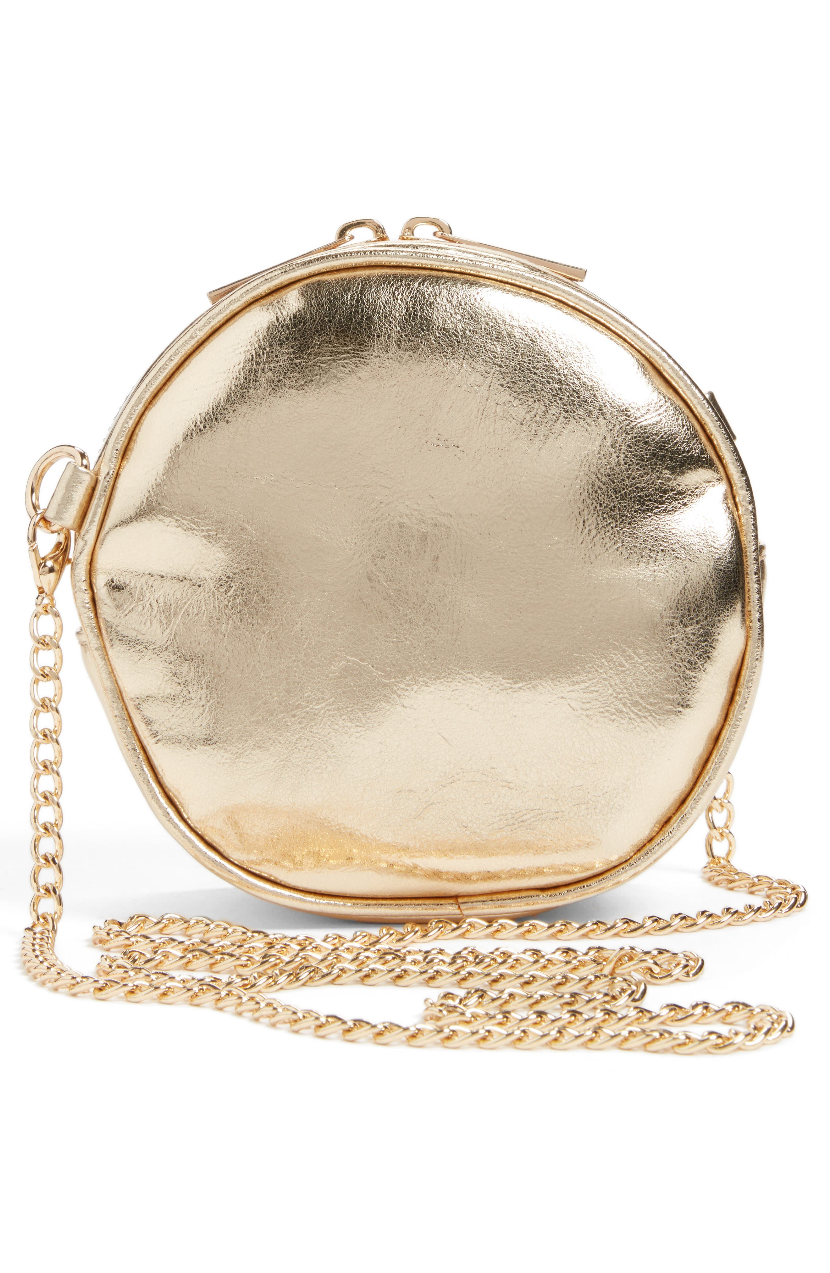 Round Crossbody Bag,                             Alternate thumbnail 2, color,                             Gold