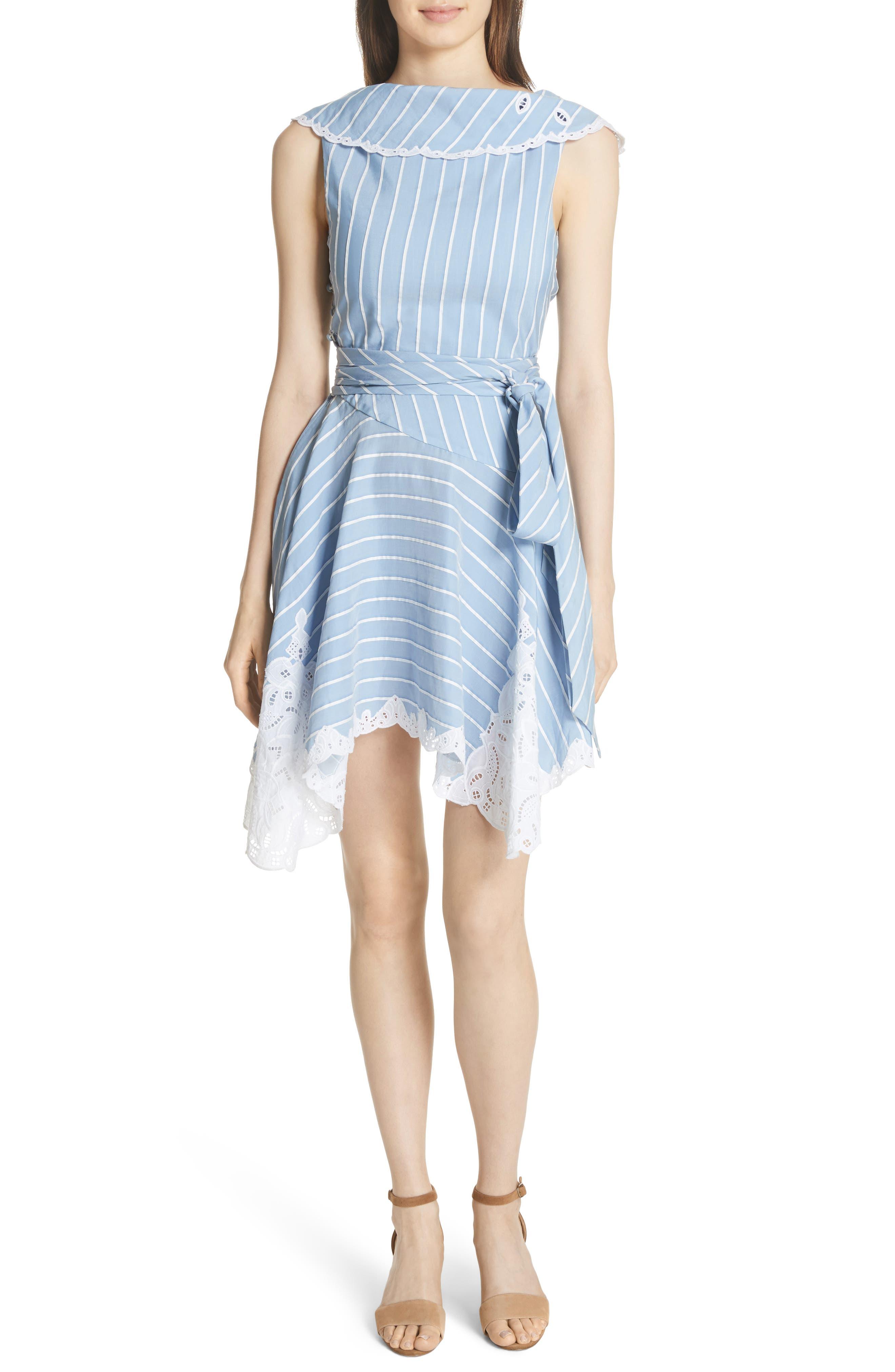 Lace Trim Asymmetrical Dress,                             Main thumbnail 1, color,                             White/ Chambray