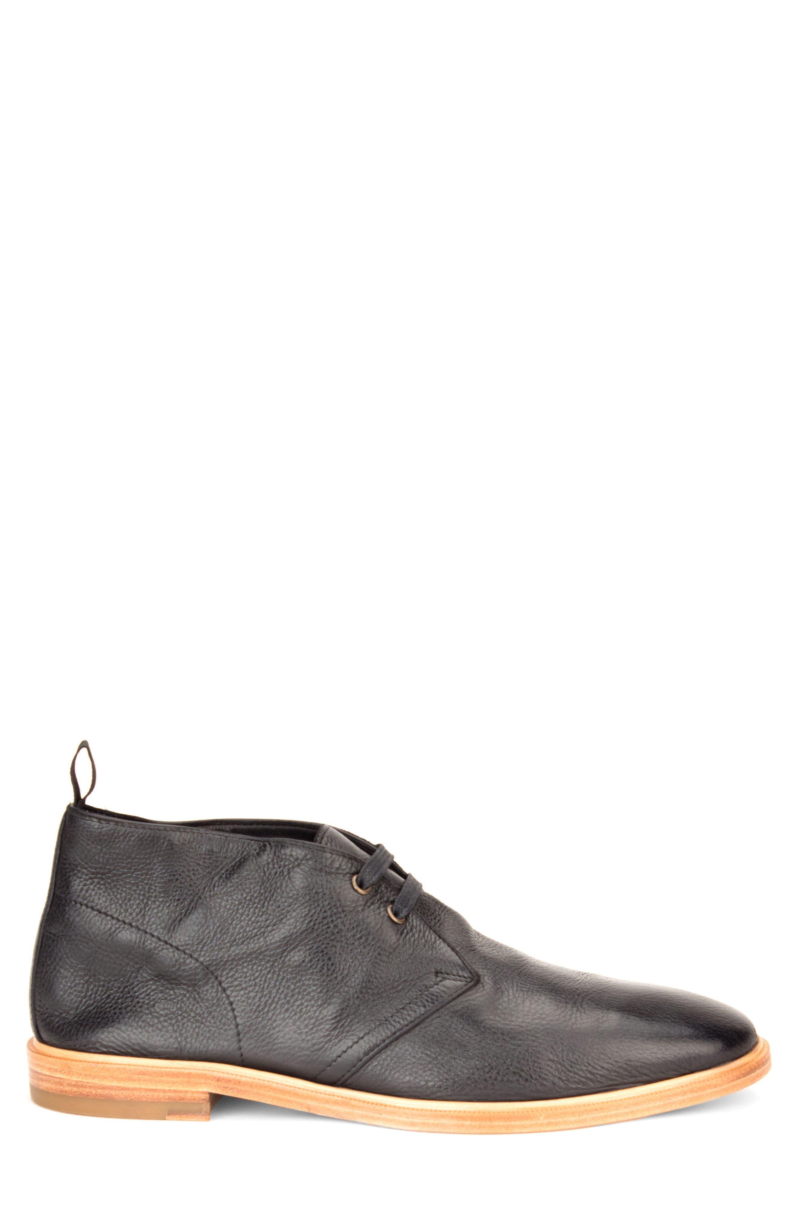 Luke Chukka Boot,                             Alternate thumbnail 3, color,                             Black Leather