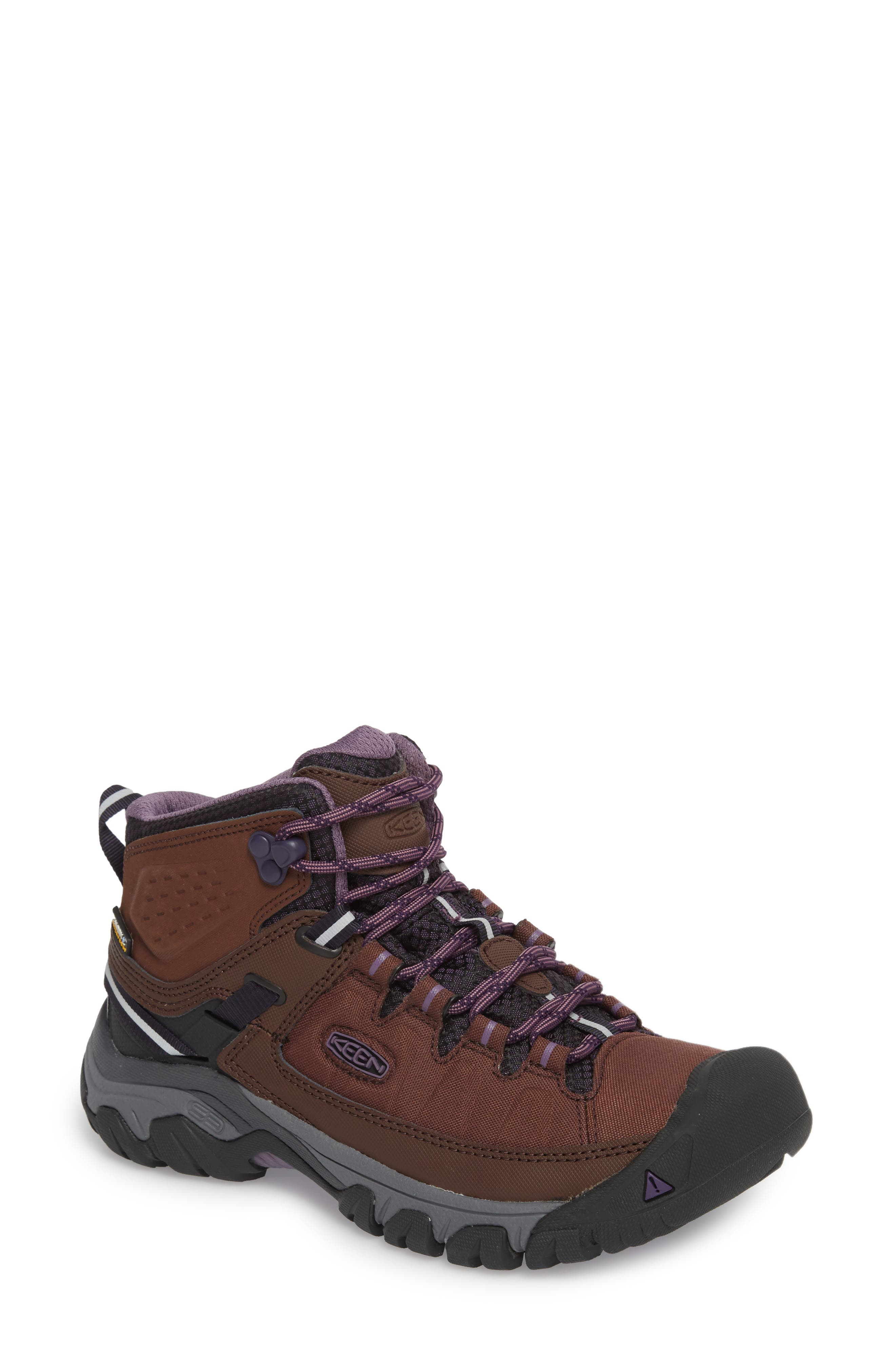 Targhee EXP Mid Waterproof Hiking Shoe,                             Main thumbnail 1, color,                             French Roast/ Purple Plumeria