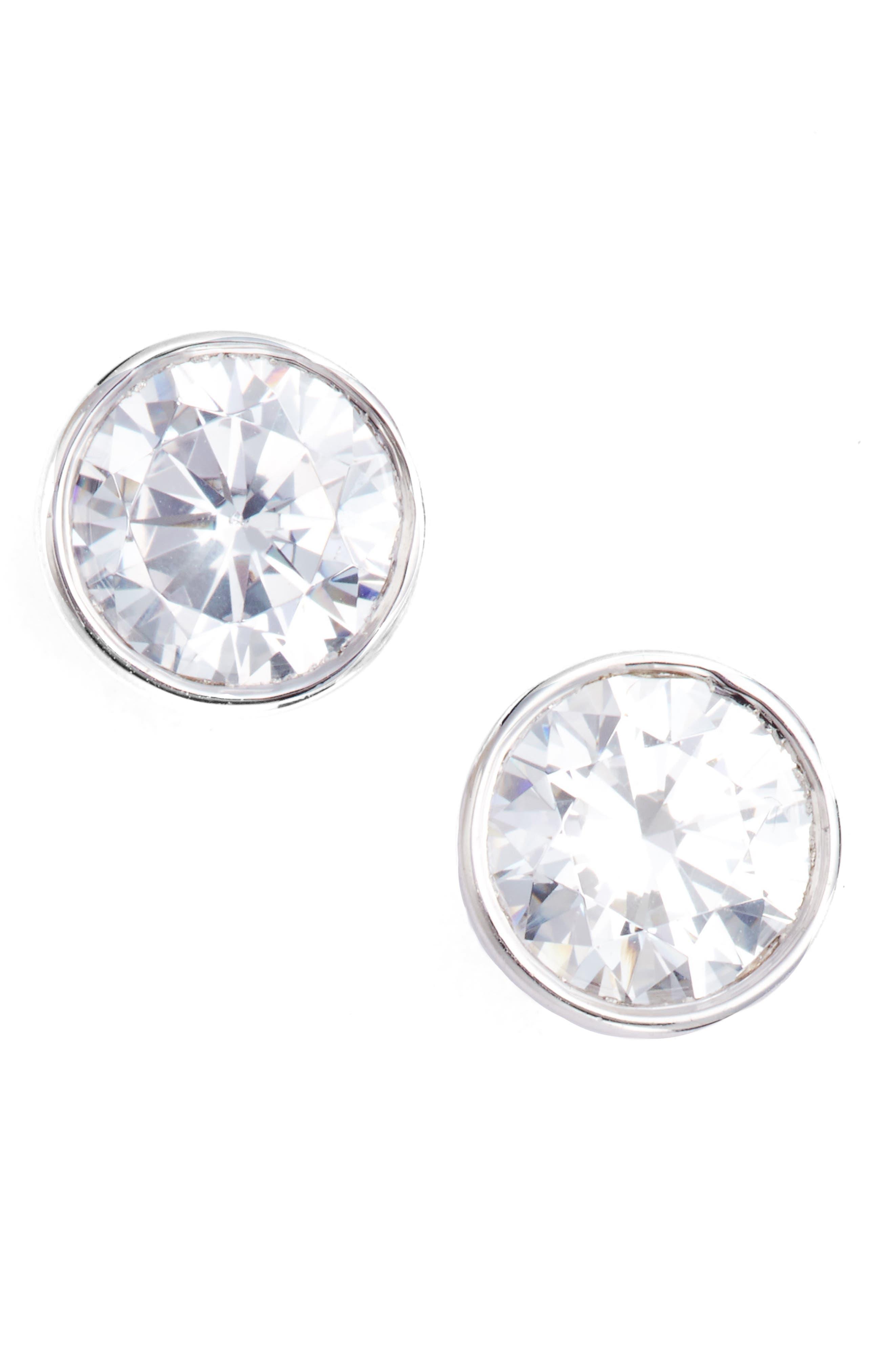 Cubic Zirconia Bezel Stud Earrings,                             Main thumbnail 1, color,                             Platinum