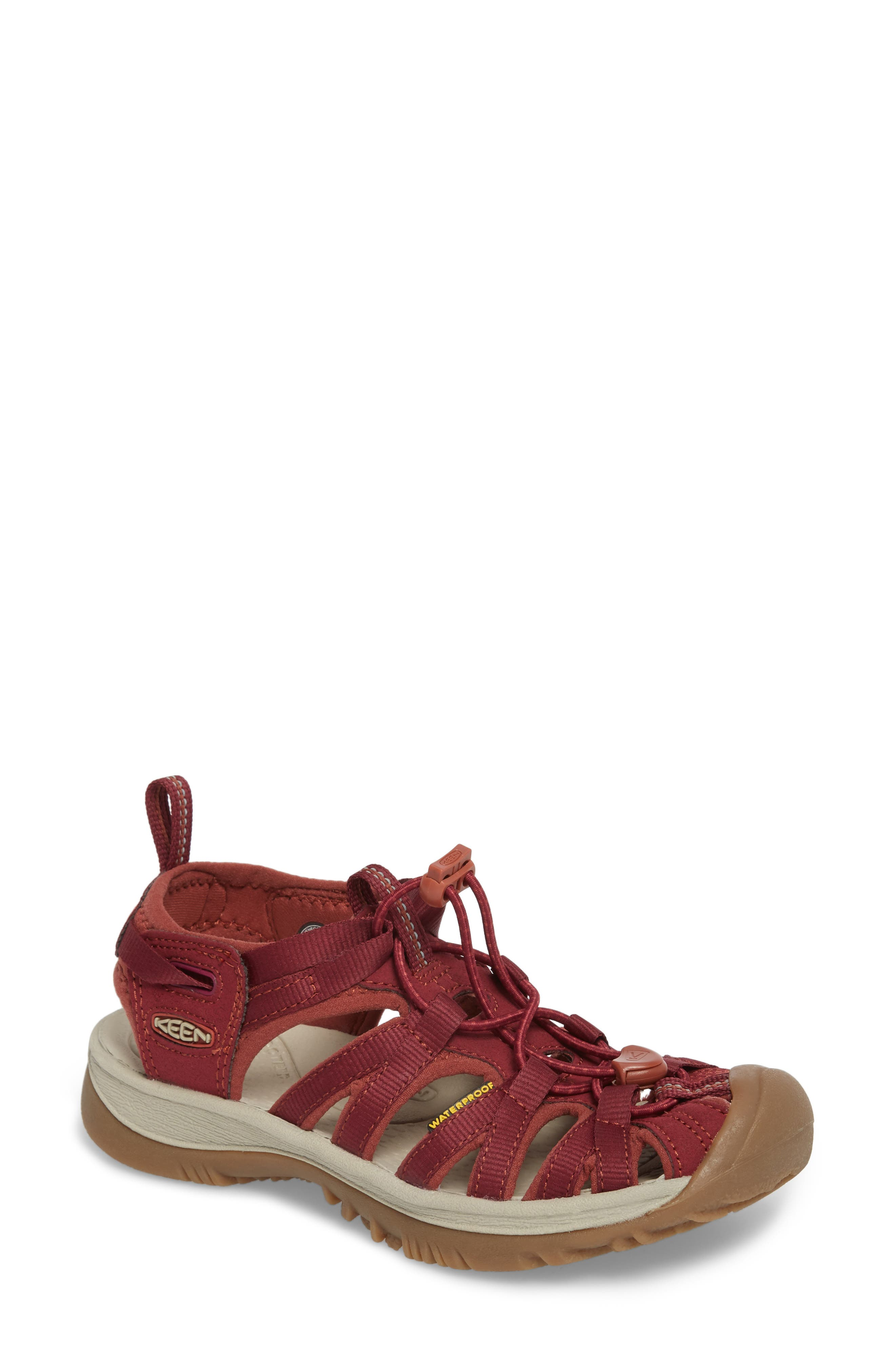 'Whisper' Water Friendly Sport Sandal,                             Main thumbnail 1, color,                             Rhododendron/ Marsala