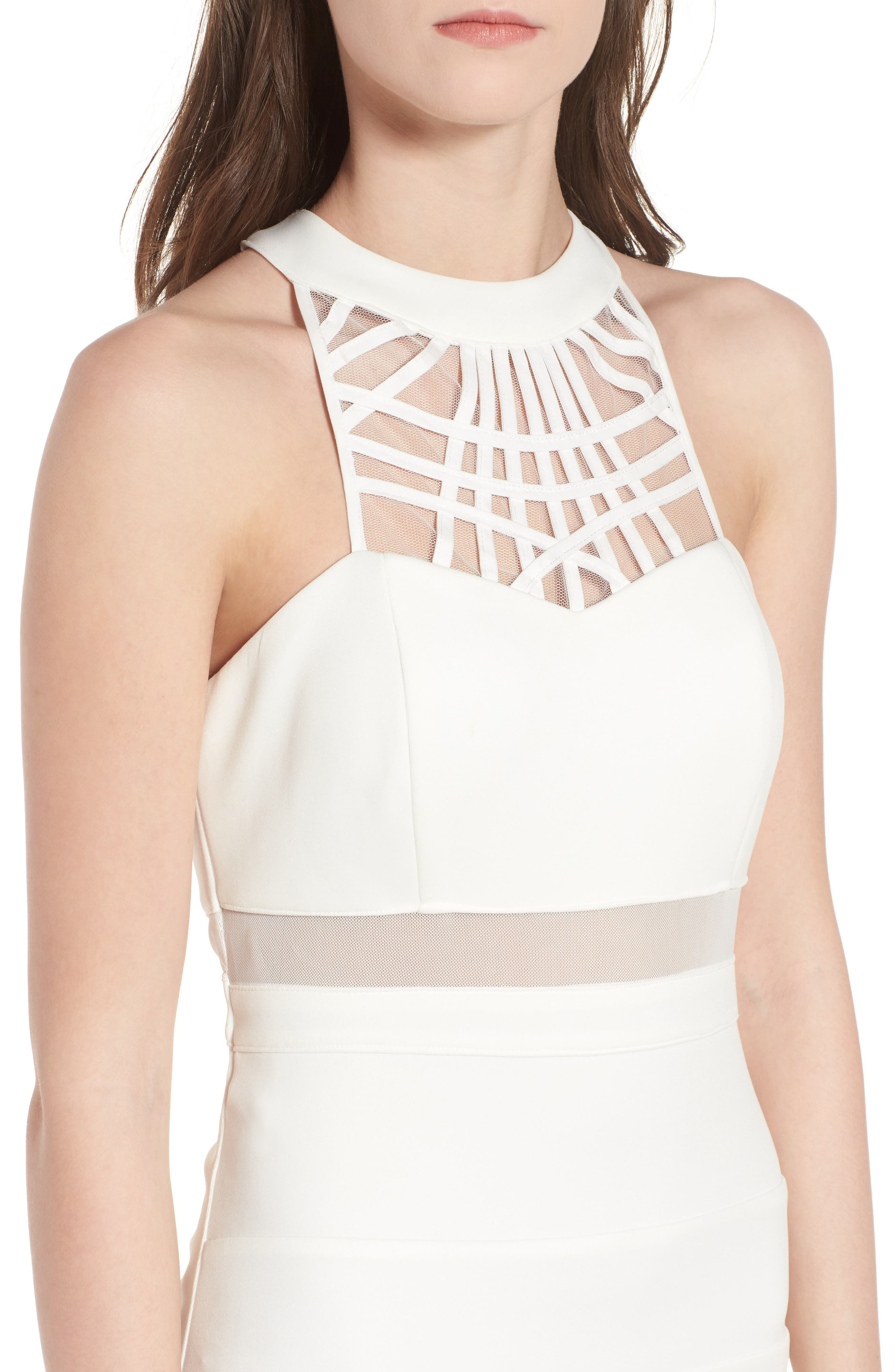 Strappy Neck Body-Con Dress,                             Alternate thumbnail 4, color,                             Ivory