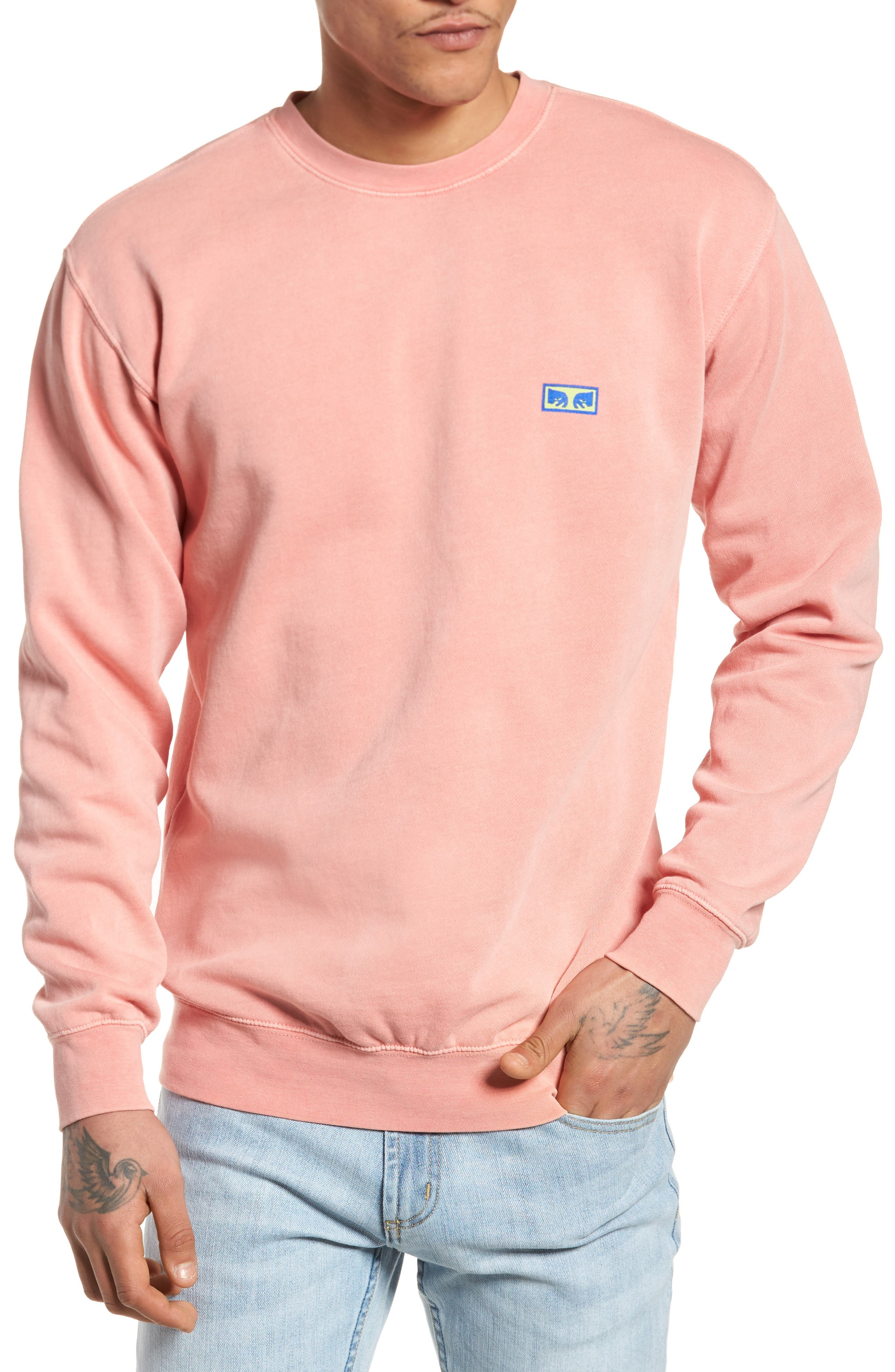Flashback Pigment Dyed Sweatshirt,                         Main,                         color, Dusty Coral