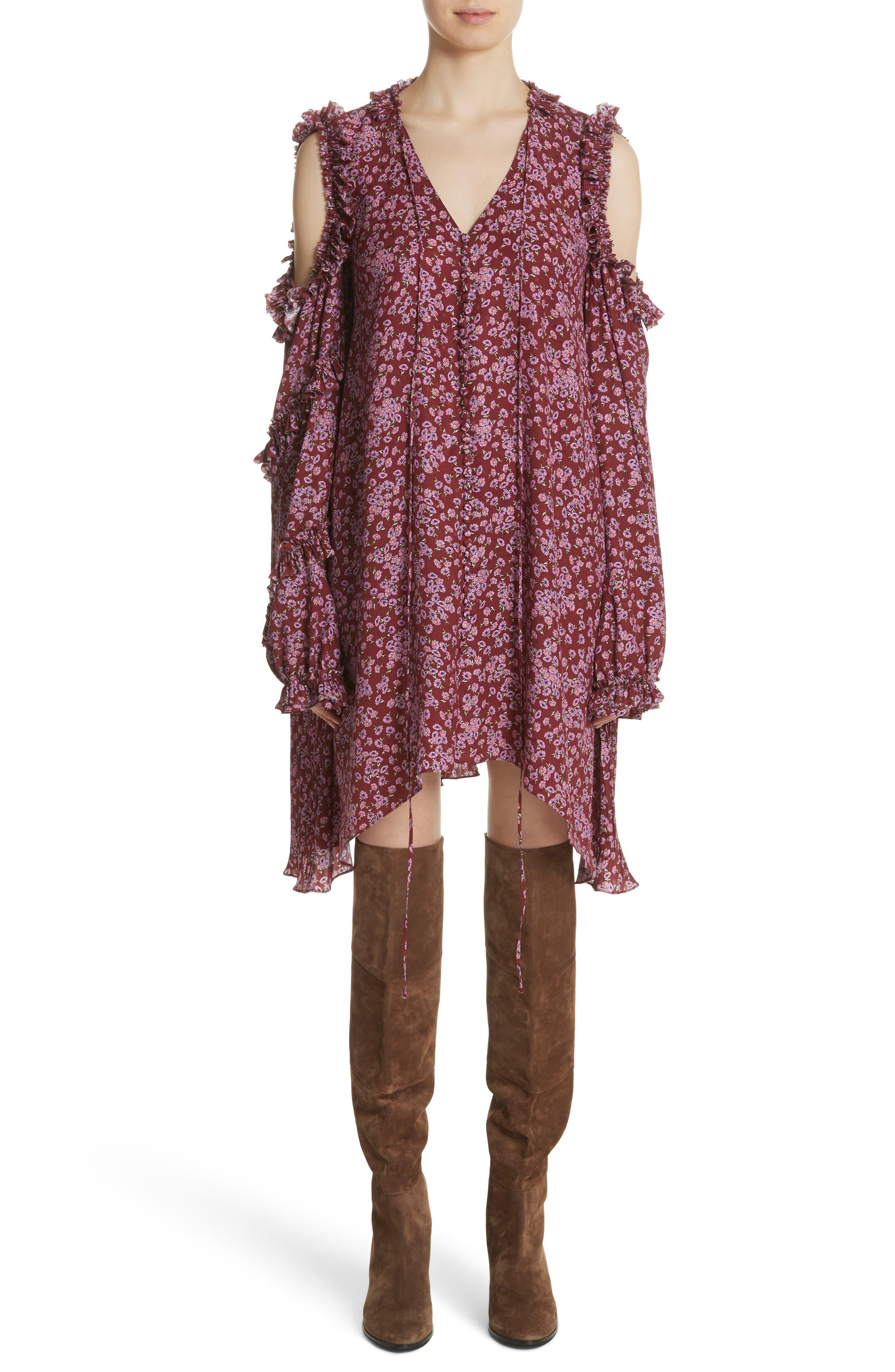 Floral Silk Cold Shoulder Dress,                             Main thumbnail 1, color,                             Bordeaux