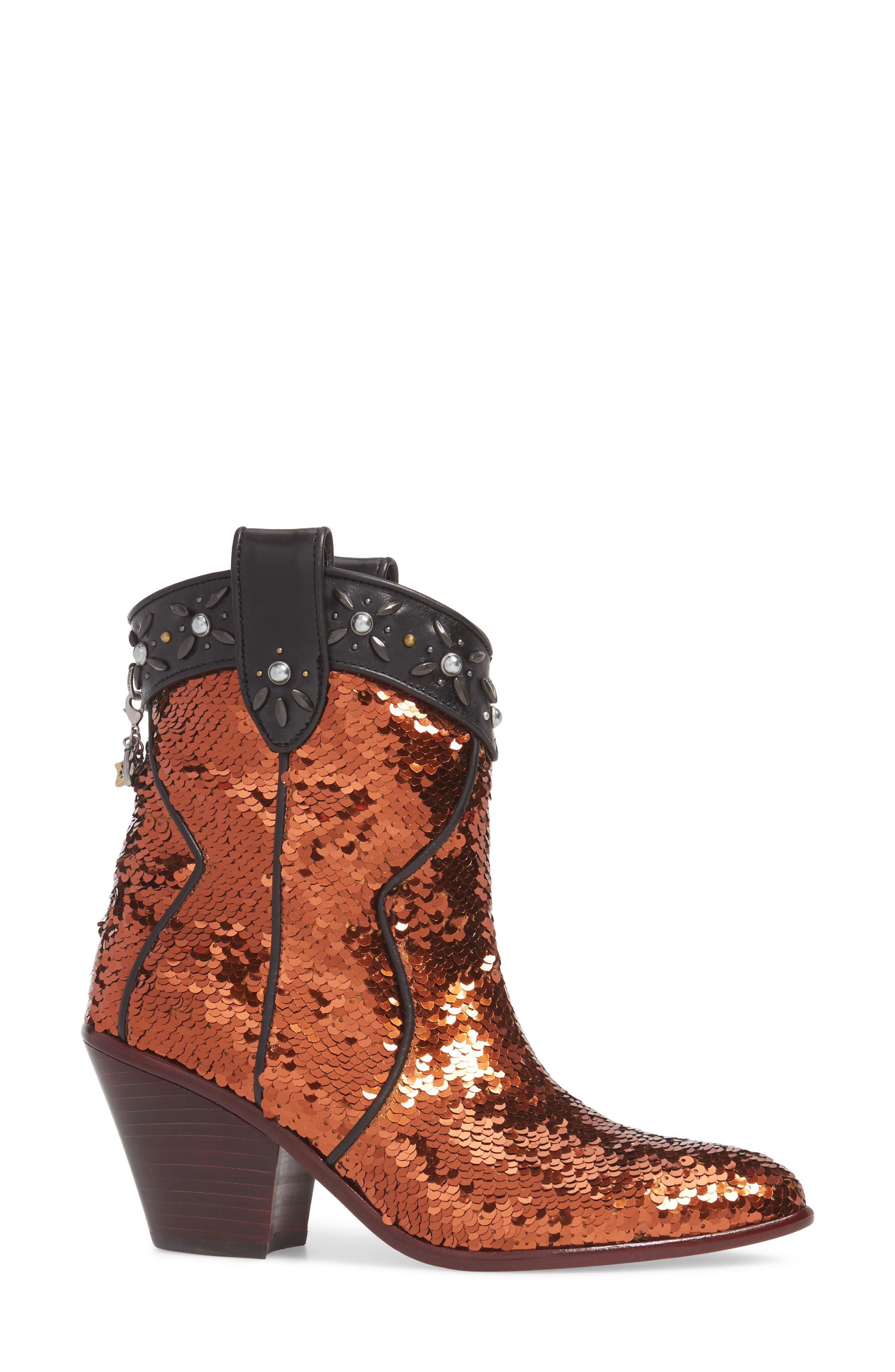 Alternate Image 3  - COACH Sequin Embellished Western Bootie (Women)