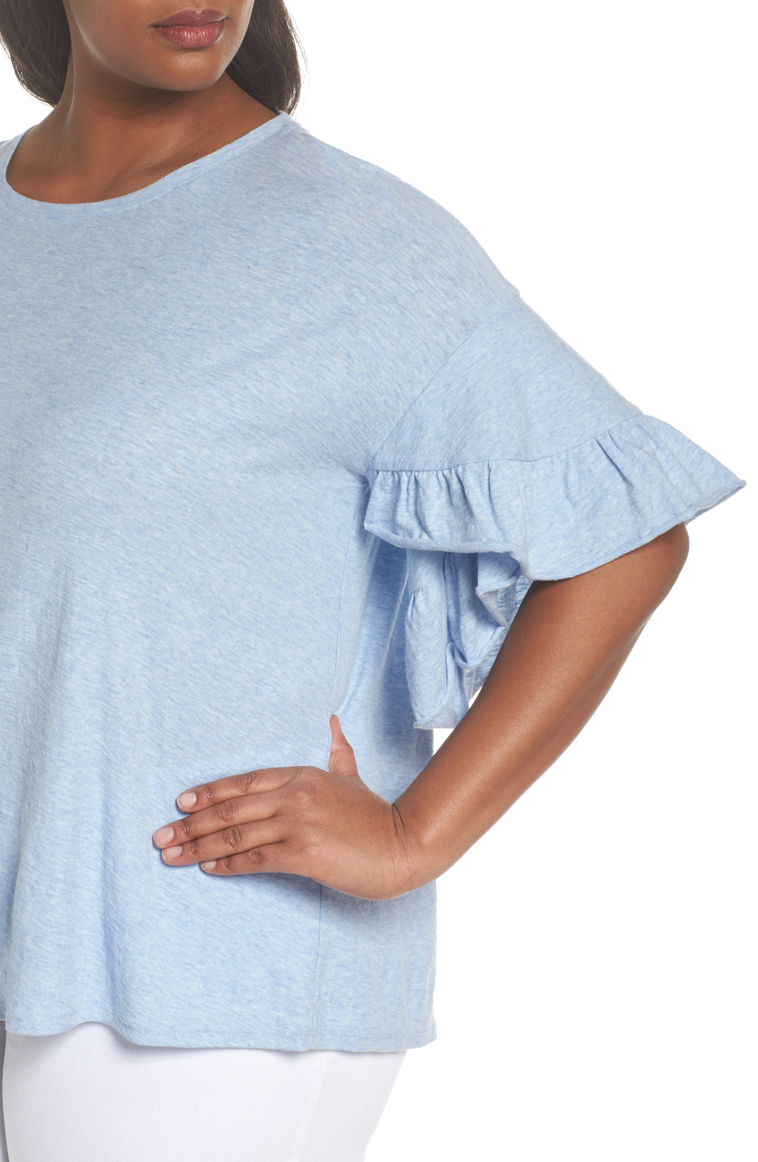 Drop Shoulder Tiered Ruffle Sleeve Top,                             Alternate thumbnail 4, color,                             Lt Chambray Heather