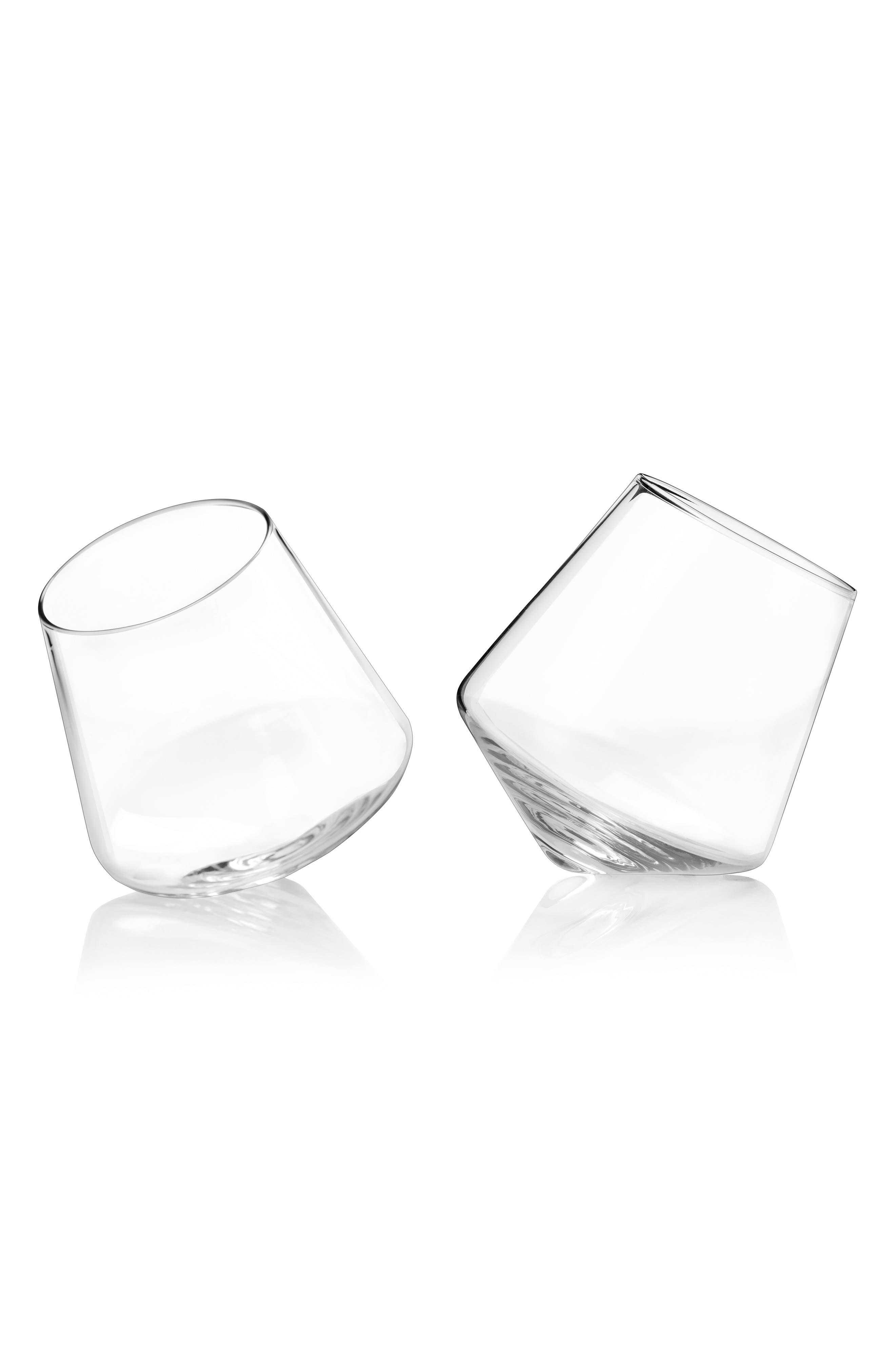 Viski Raye Set of 2 Rolling Stemless Wine Glasses