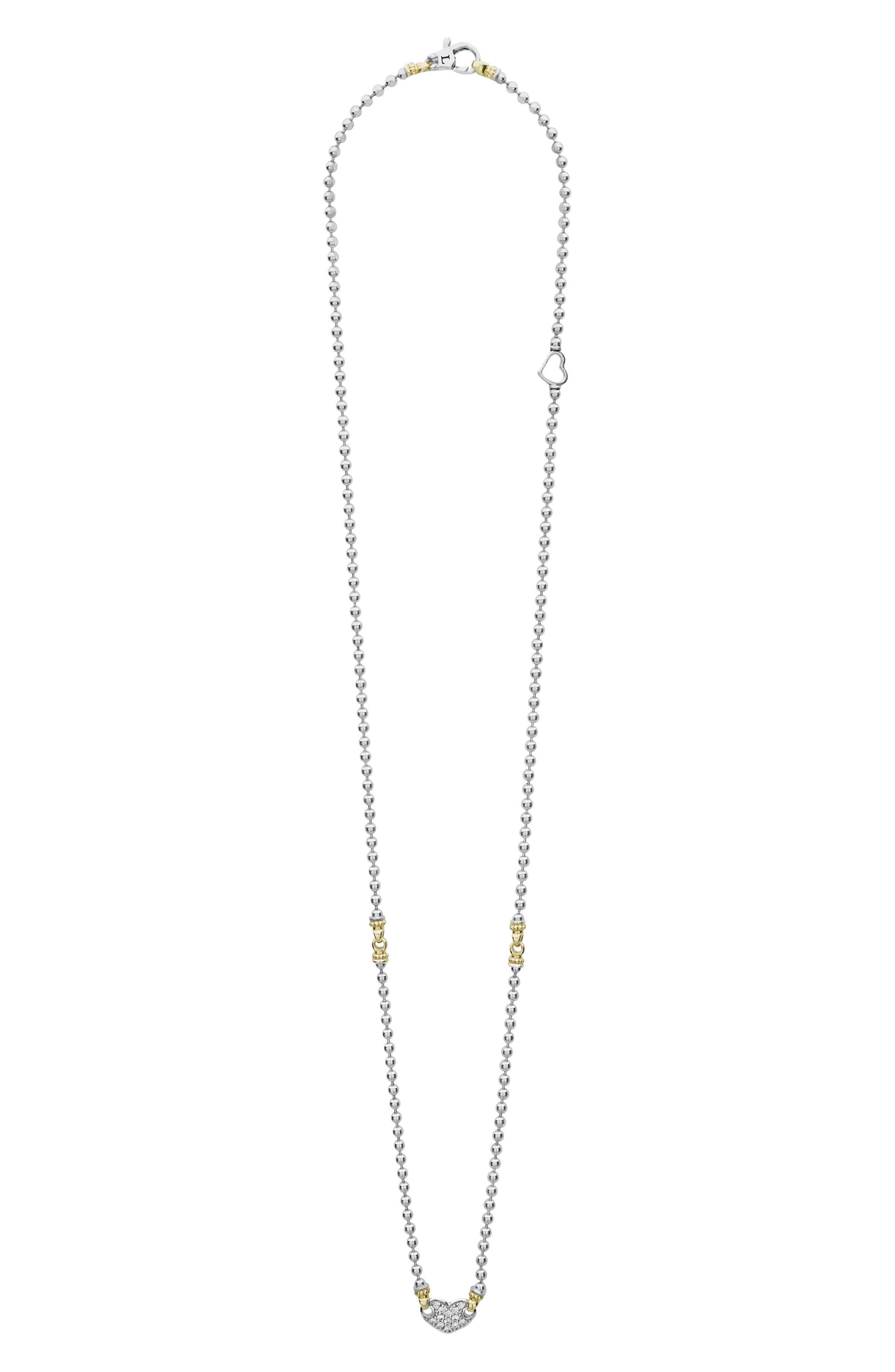 Beloved Diamond Pavé Heart Chain Necklace,                         Main,                         color, Silver/ Diamond
