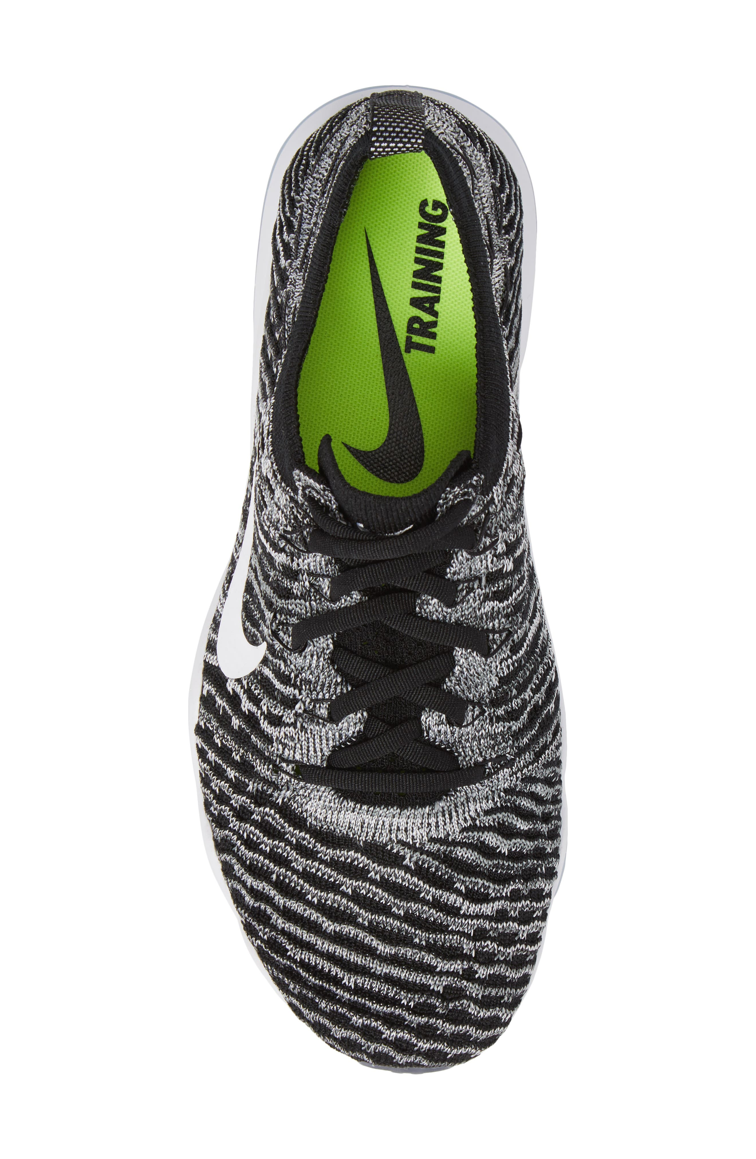 Air Zoom Fearless Flyknit Lux Training Shoe,                             Alternate thumbnail 5, color,                             Black/ White