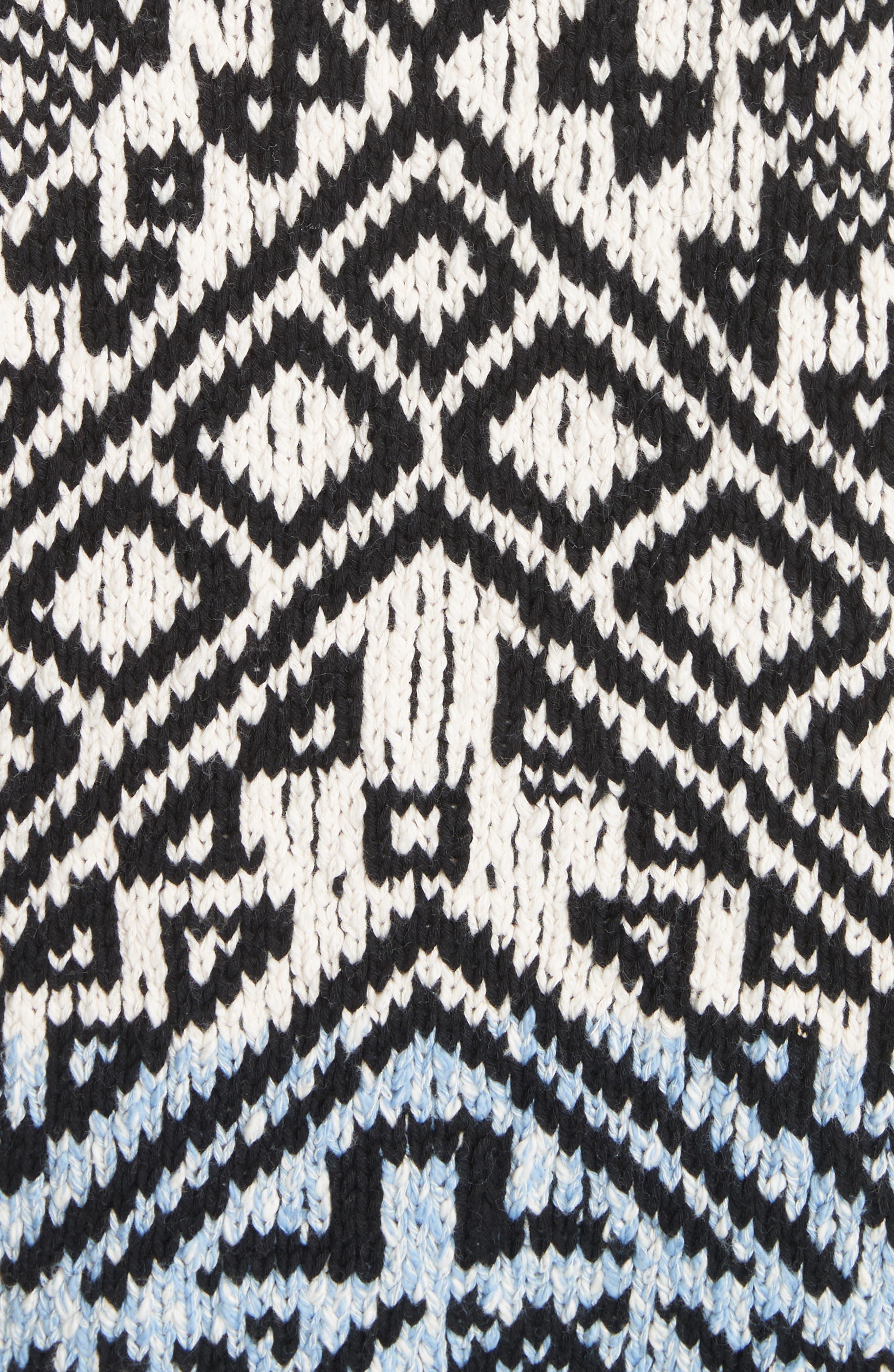 Rhia Jacquard Sweater,                             Alternate thumbnail 5, color,                             Off White/ Black