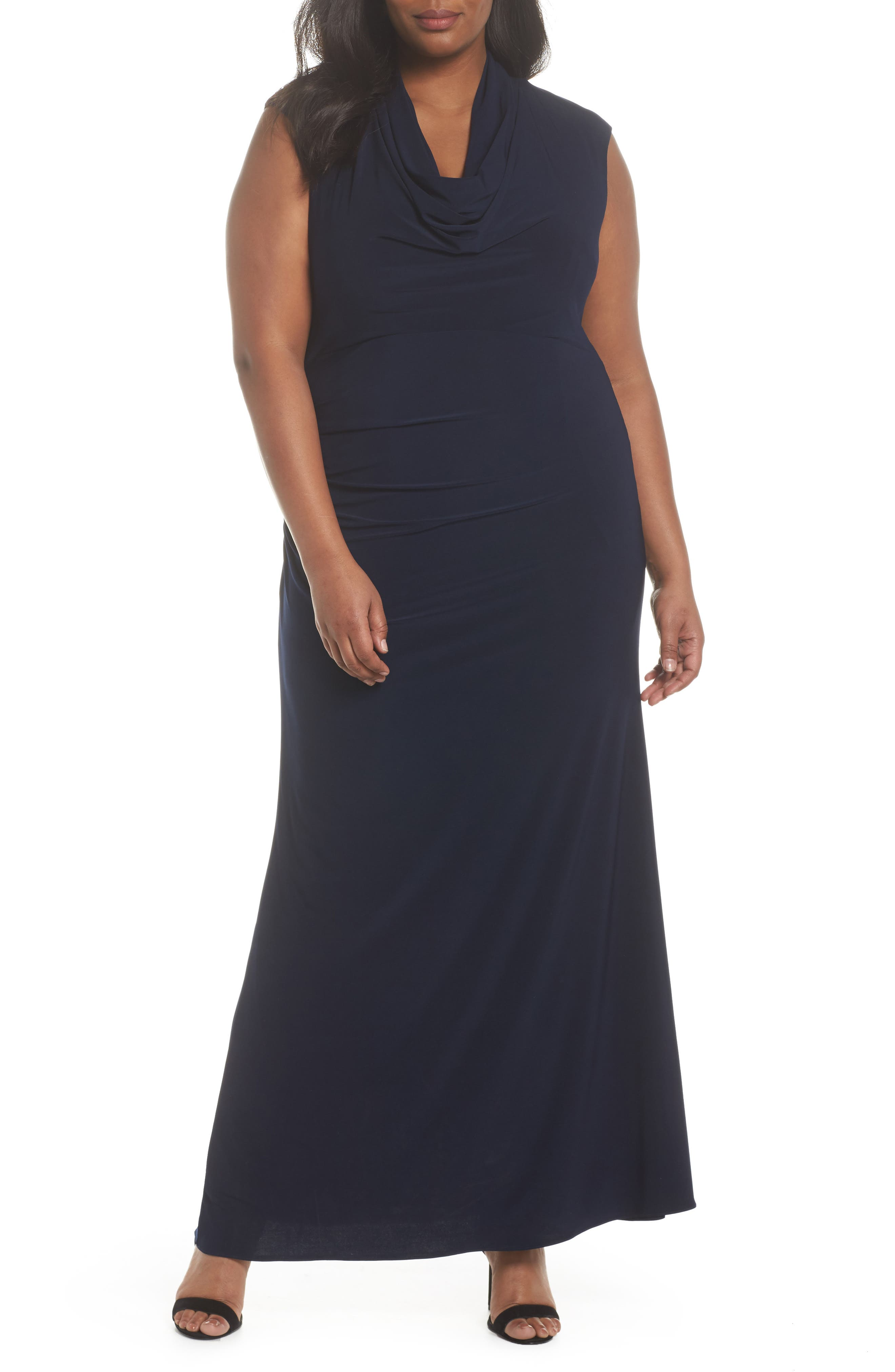 Cowl Neck Jersey Gown,                             Main thumbnail 1, color,                             Midnight