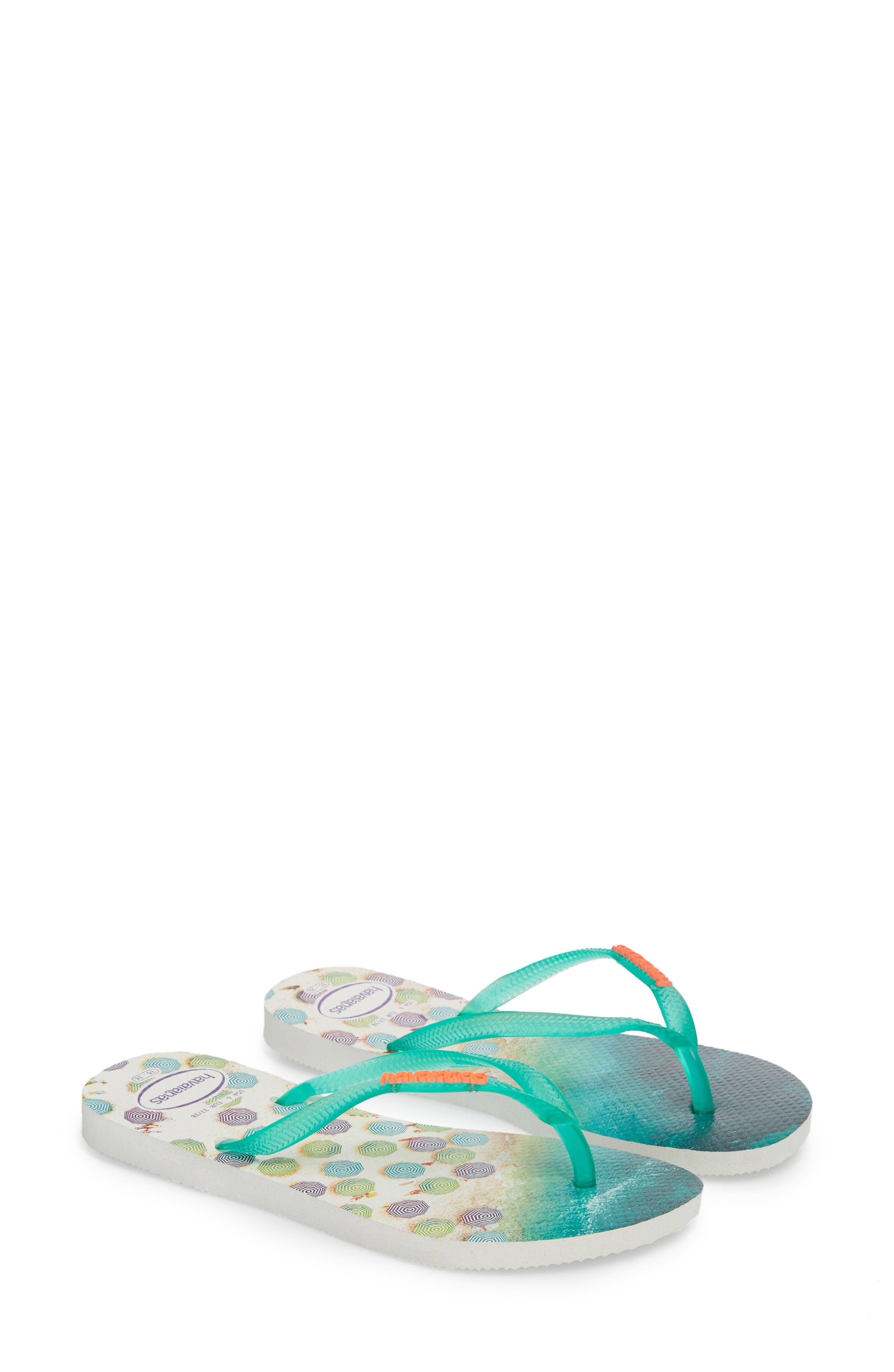 'Slim Paisage' Flip Flop,                             Alternate thumbnail 3, color,                             White/ Mint Green