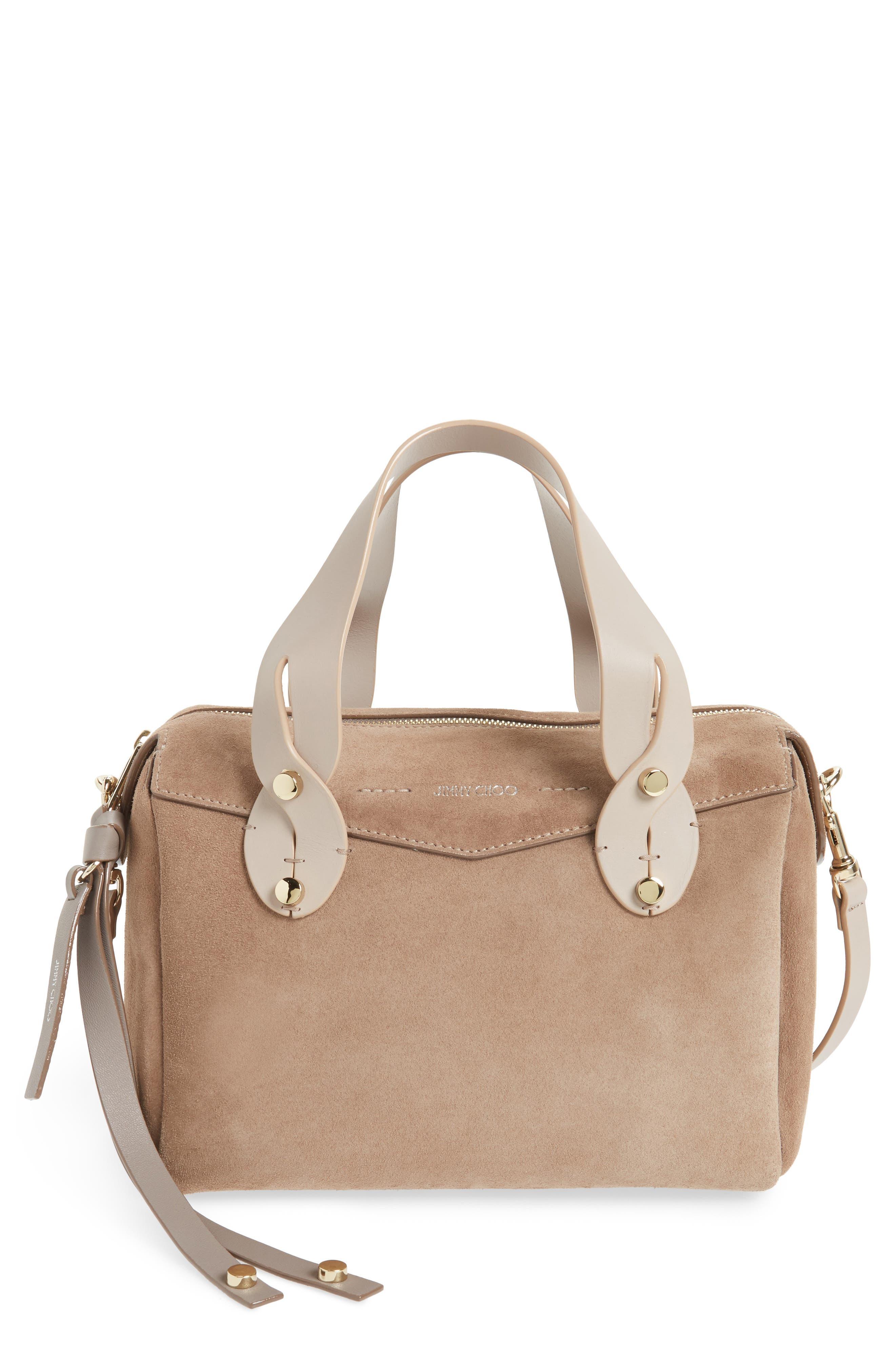 Small Allie Nappa Leather Bowling Bag,                         Main,                         color, Light Mocha
