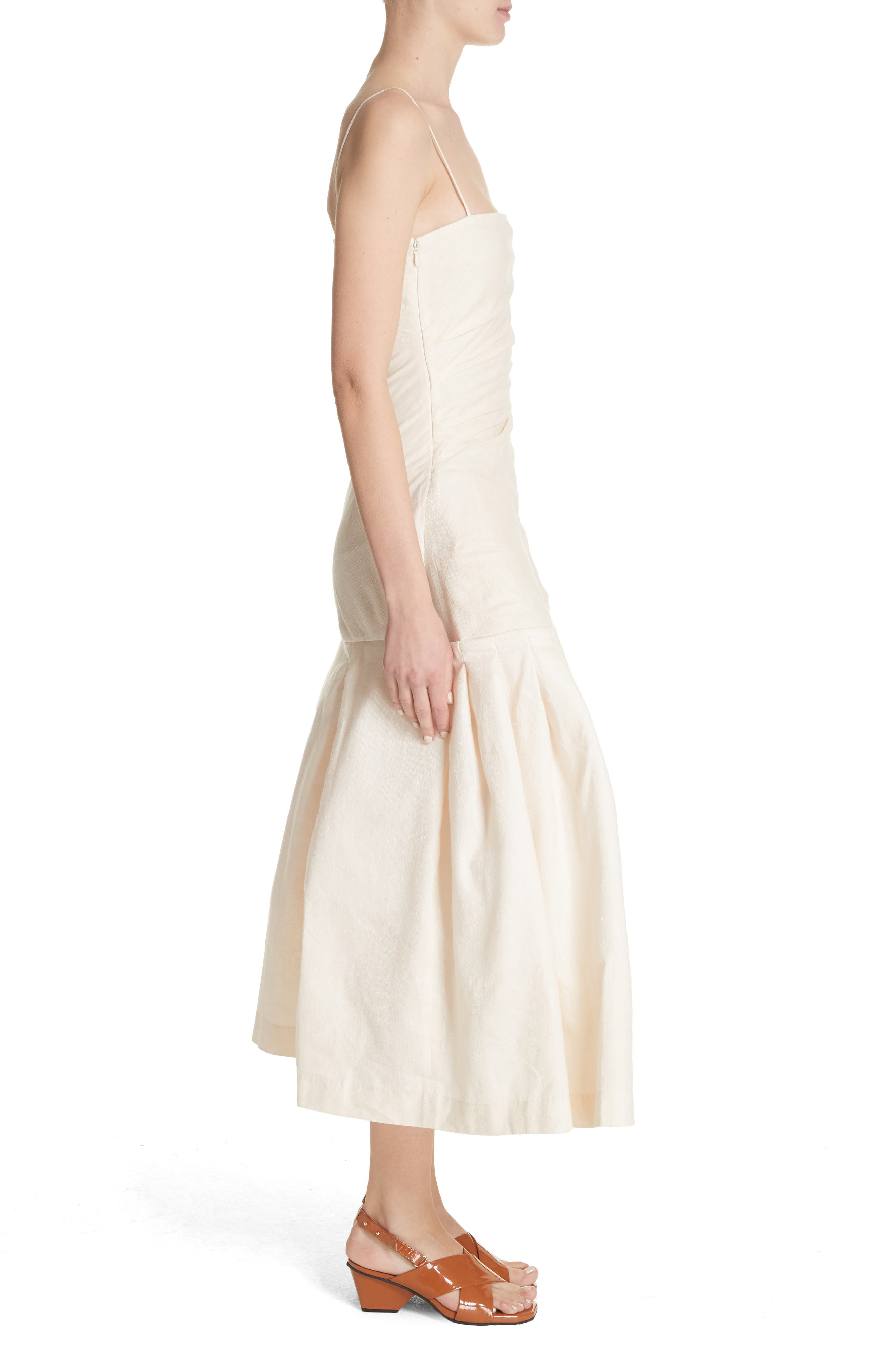 La Robe Limao Linen & Cotton Trumpet Dress,                             Alternate thumbnail 3, color,                             Beige