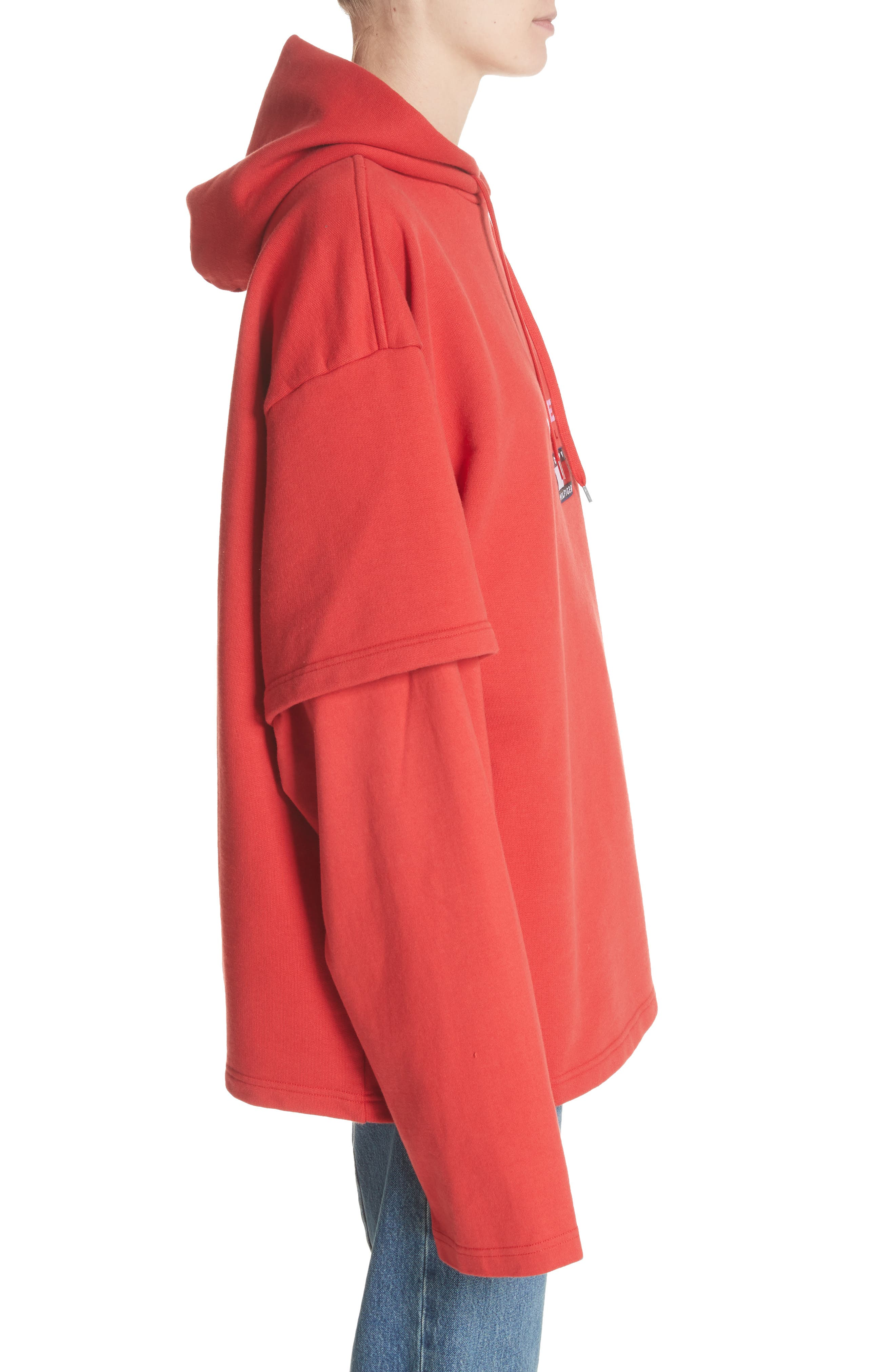 Tommy Hilfiger Double Sleeve Hoodie,                             Alternate thumbnail 3, color,                             Red