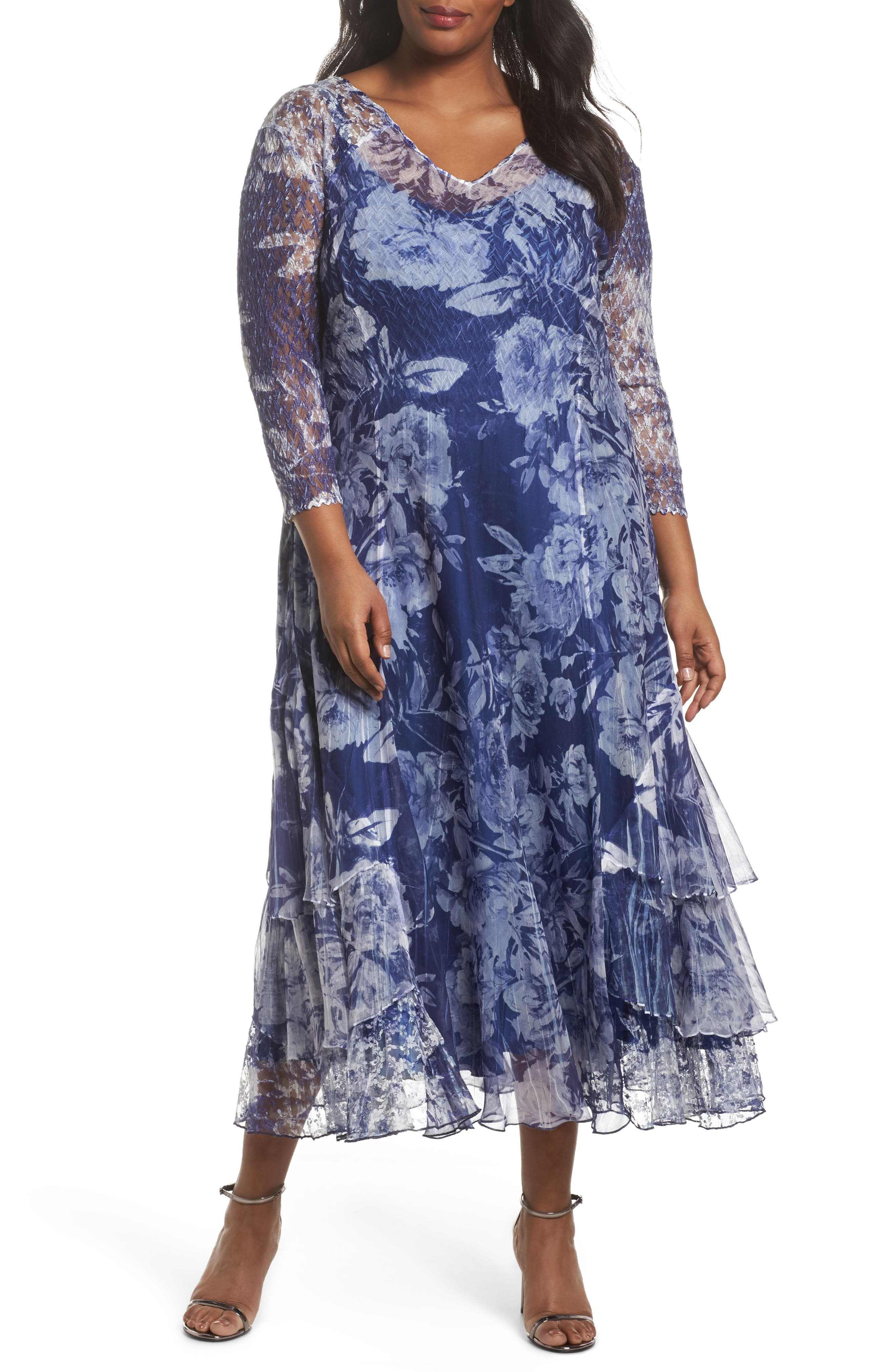 Print Chiffon Tiered Maxi Dress,                         Main,                         color, Indigo Fields