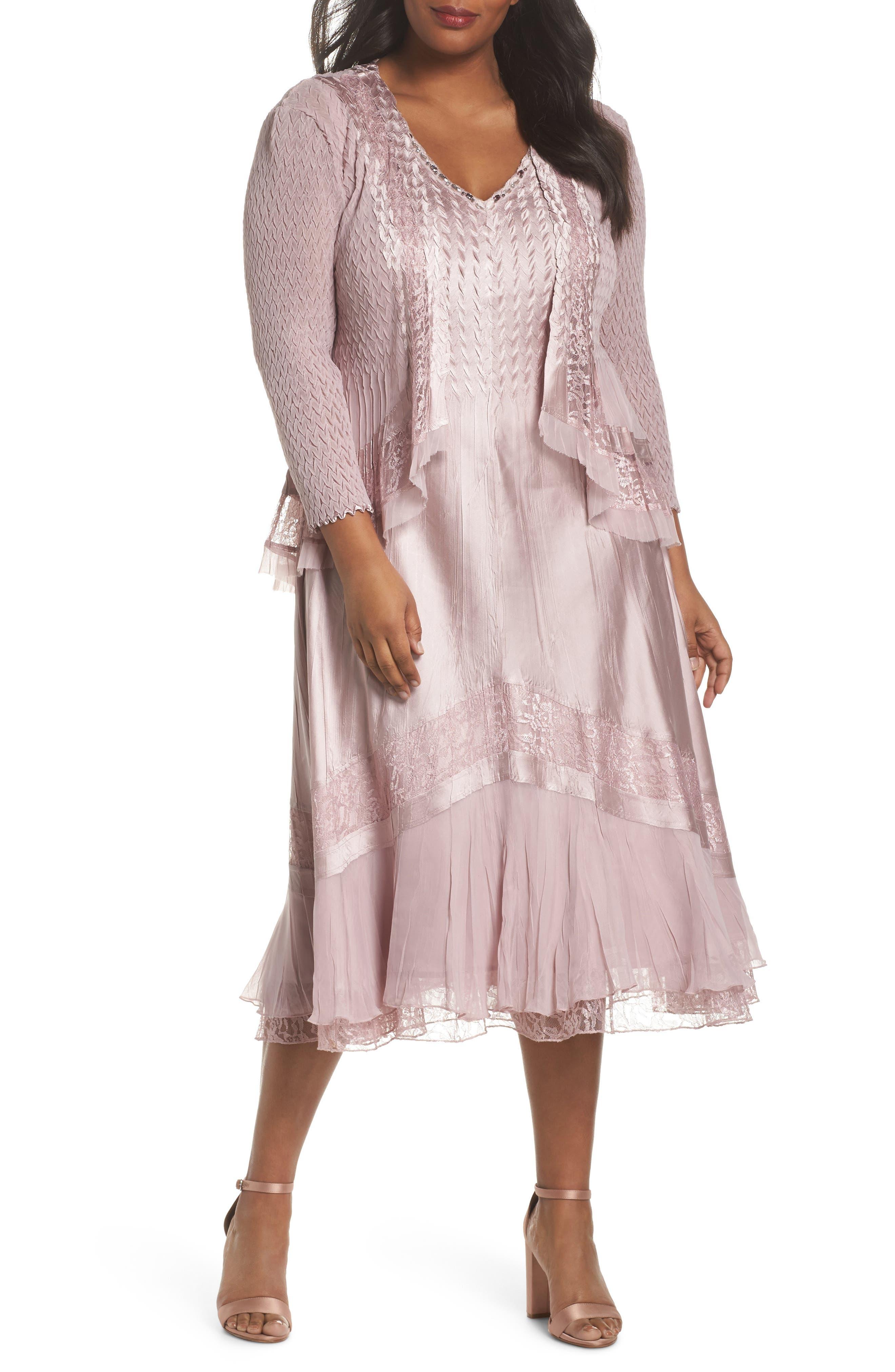 Lace Dress and Jacket,                             Main thumbnail 1, color,                             Lotus