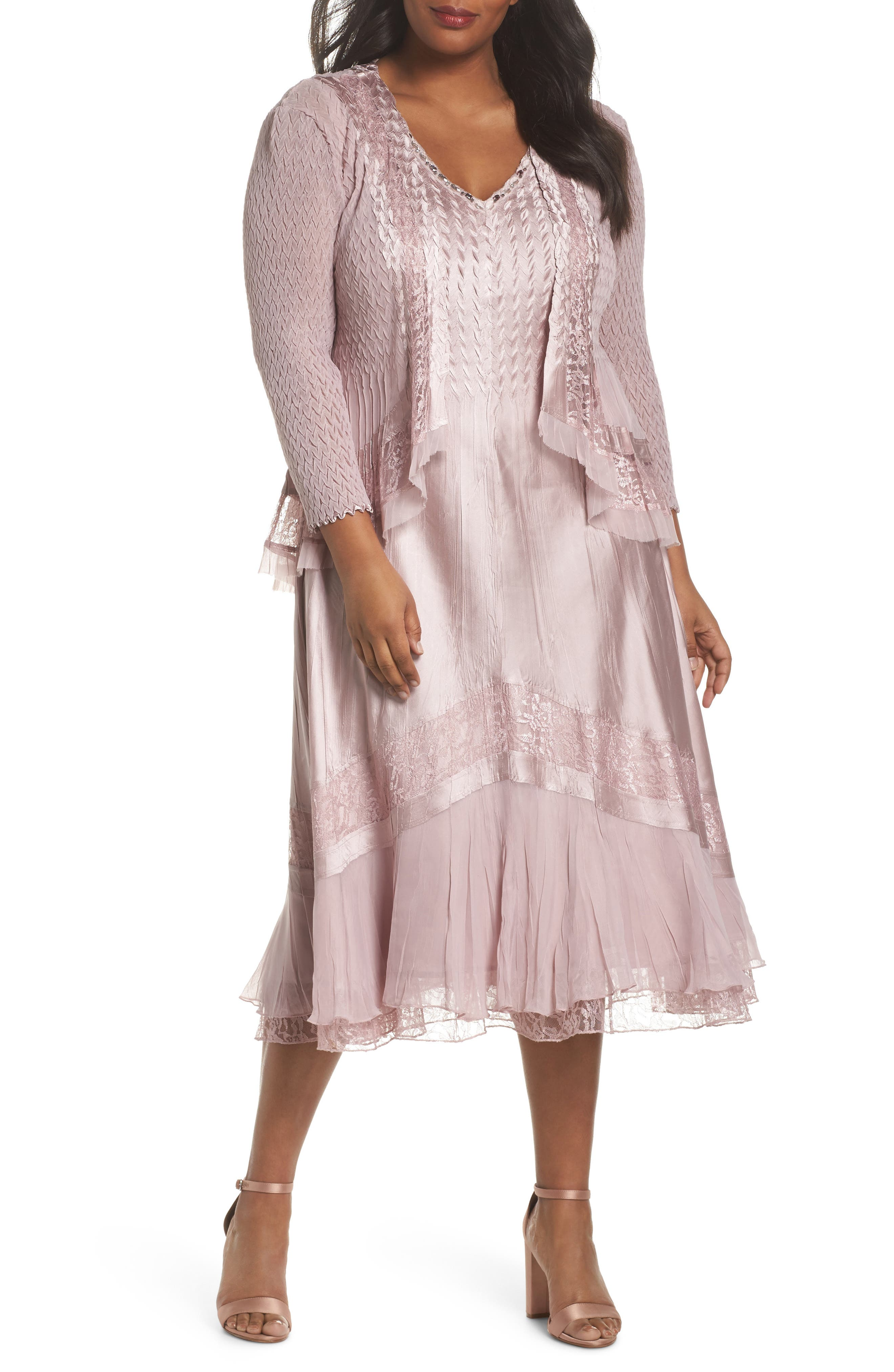 Lace Dress and Jacket,                         Main,                         color, Lotus