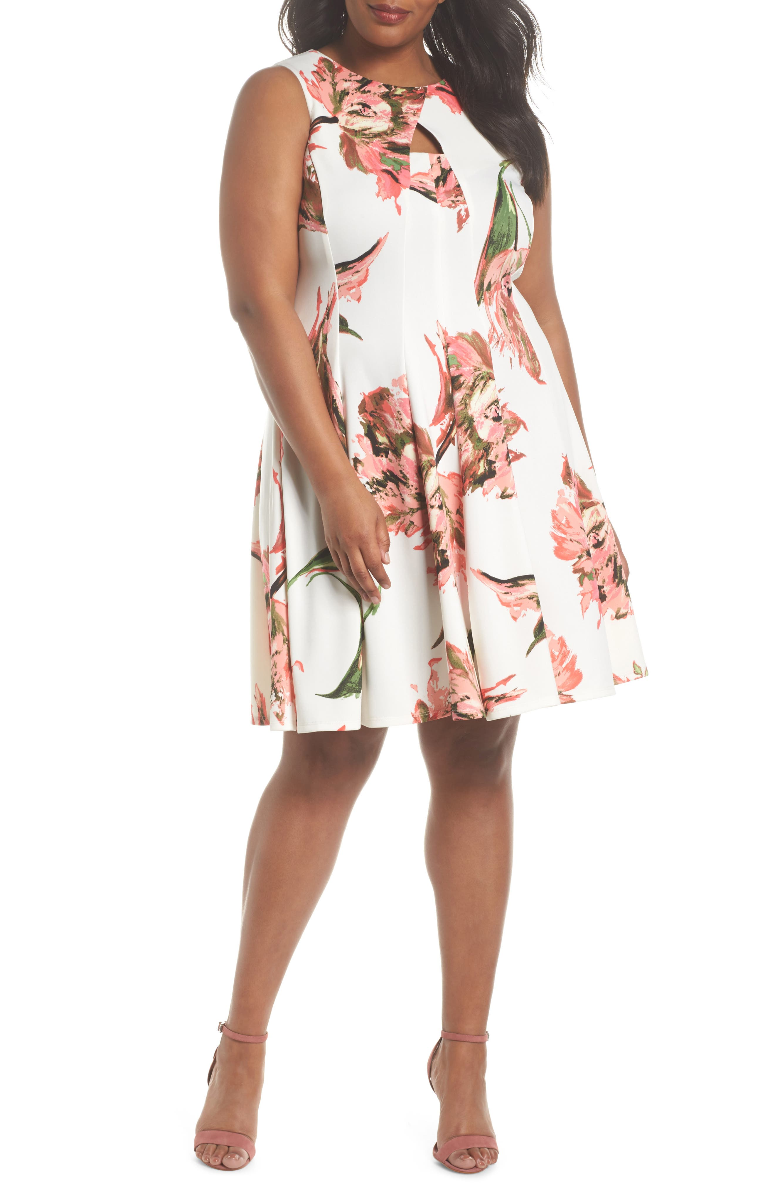 Floral Keyhole Fit & Flare Dress,                             Main thumbnail 1, color,                             Coral/ Ivory