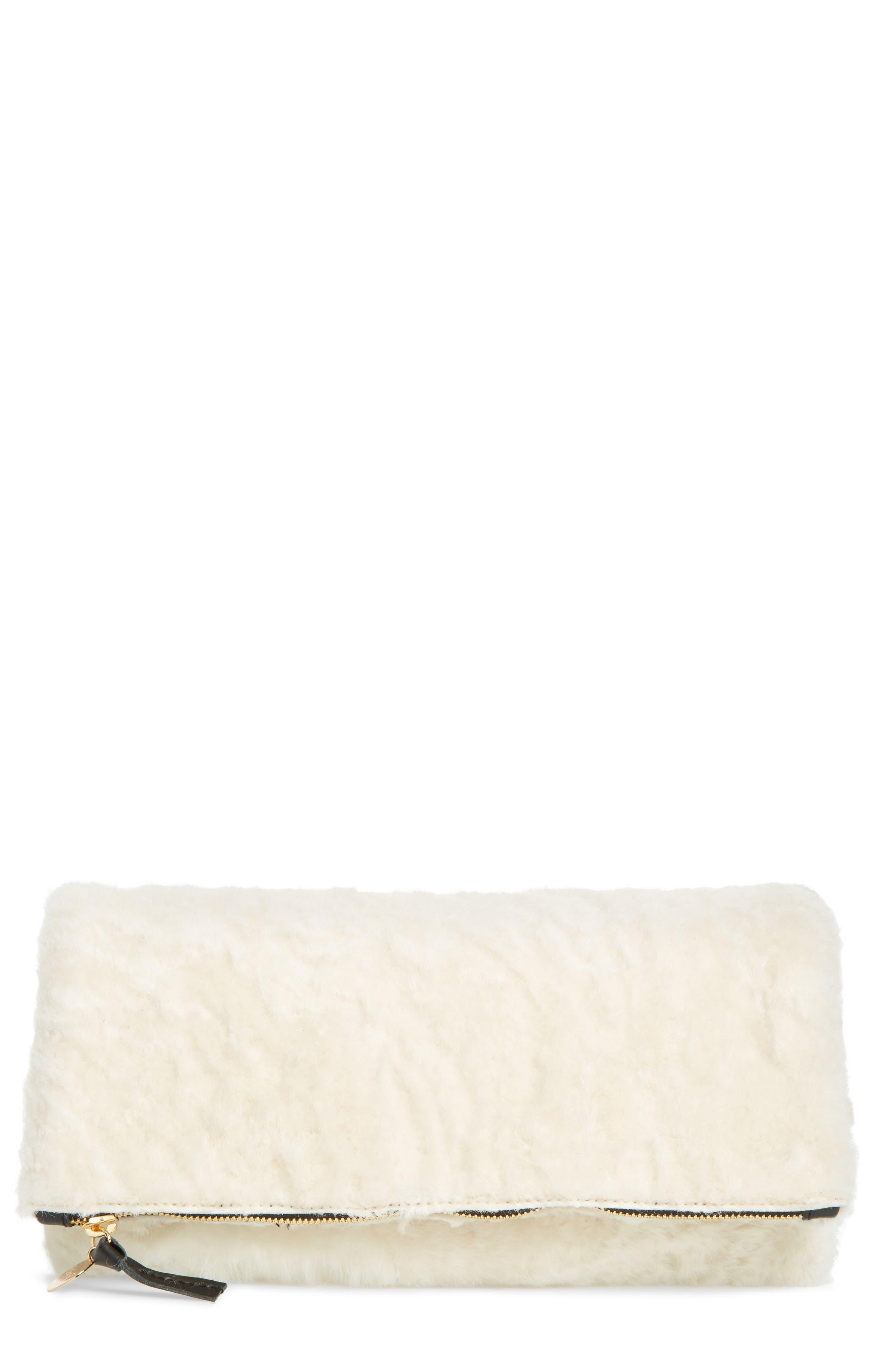 Ocelot Print Genuine Shearling Foldover Clutch,                         Main,                         color, Cream Shearling