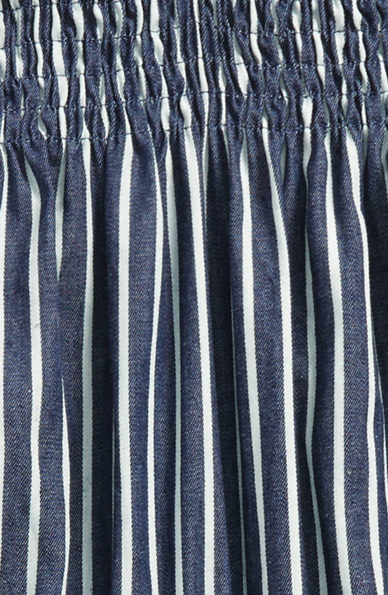Alternate Image 2  - Miss Behave Stripe Off the Shoulder Romper (Big Girls)