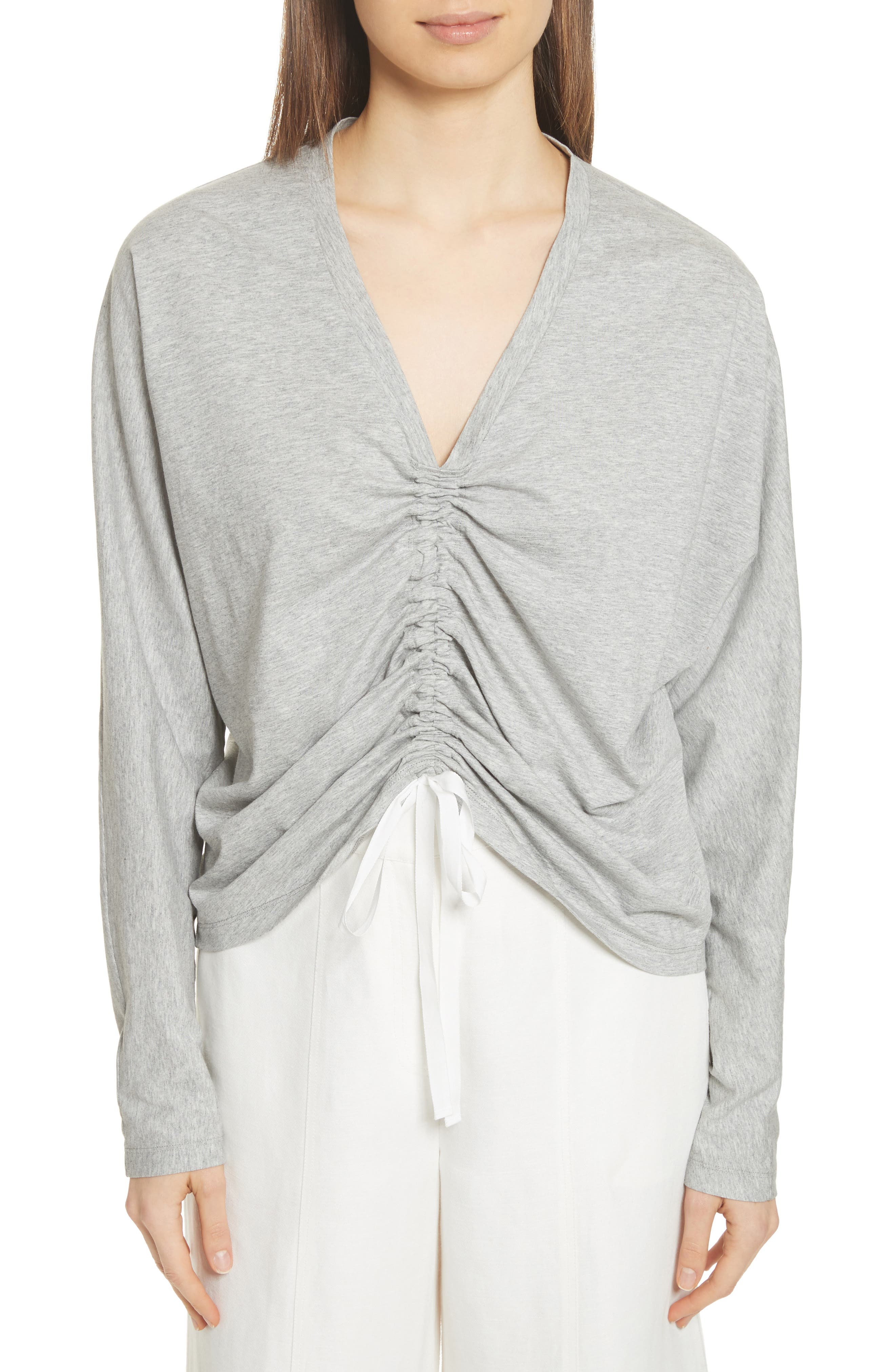 Ruched Front Tee,                             Main thumbnail 1, color,                             Heather Grey