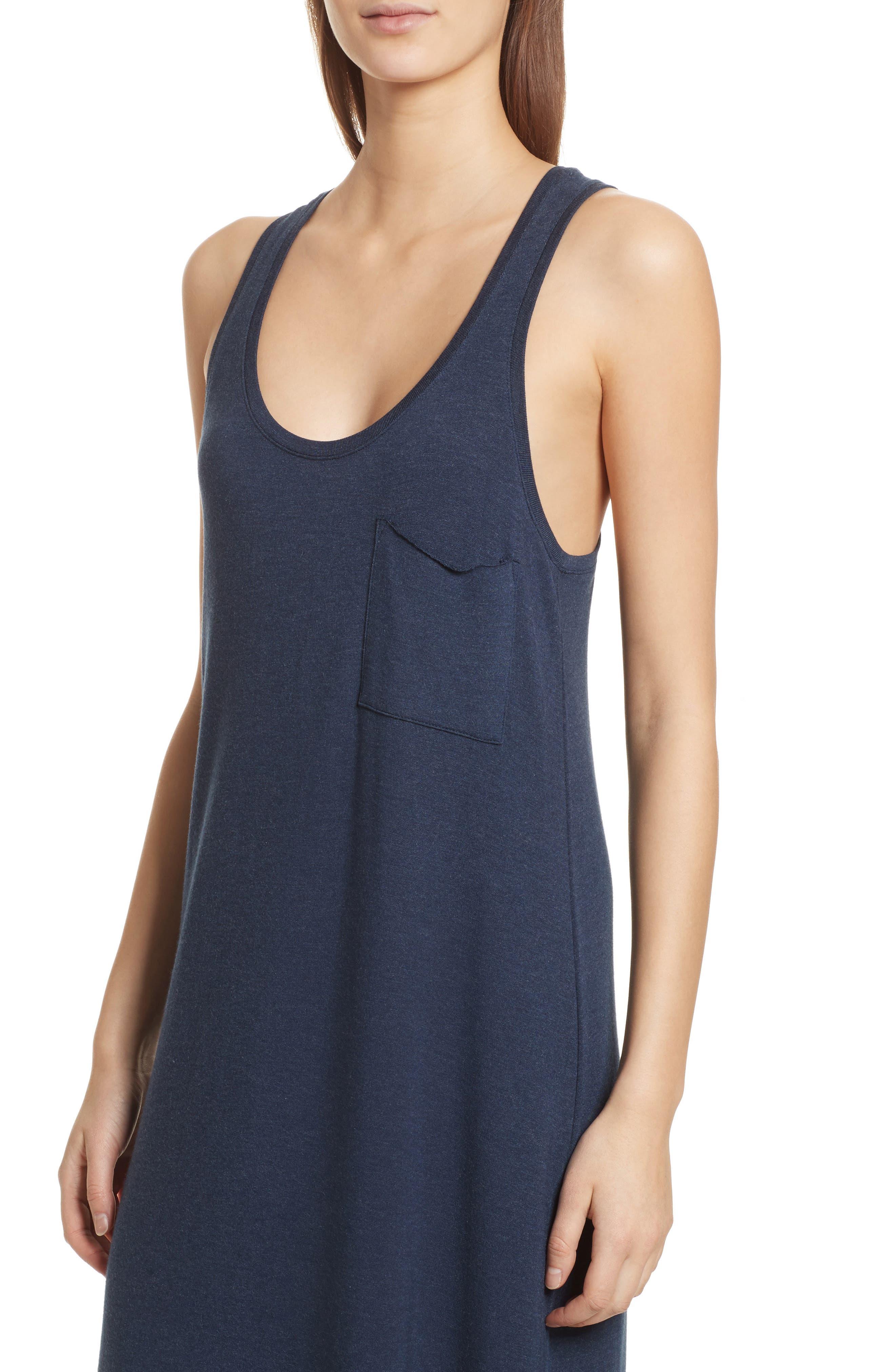 Pocket Midi Dress,                             Alternate thumbnail 4, color,                             Heather Denim