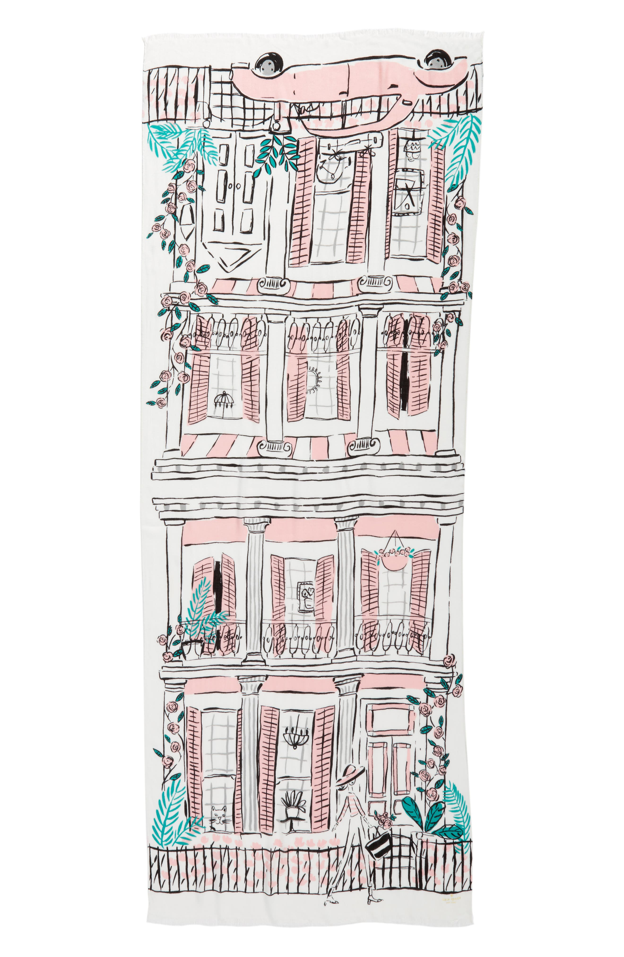 new orleans house scarf,                             Alternate thumbnail 2, color,                             Cream