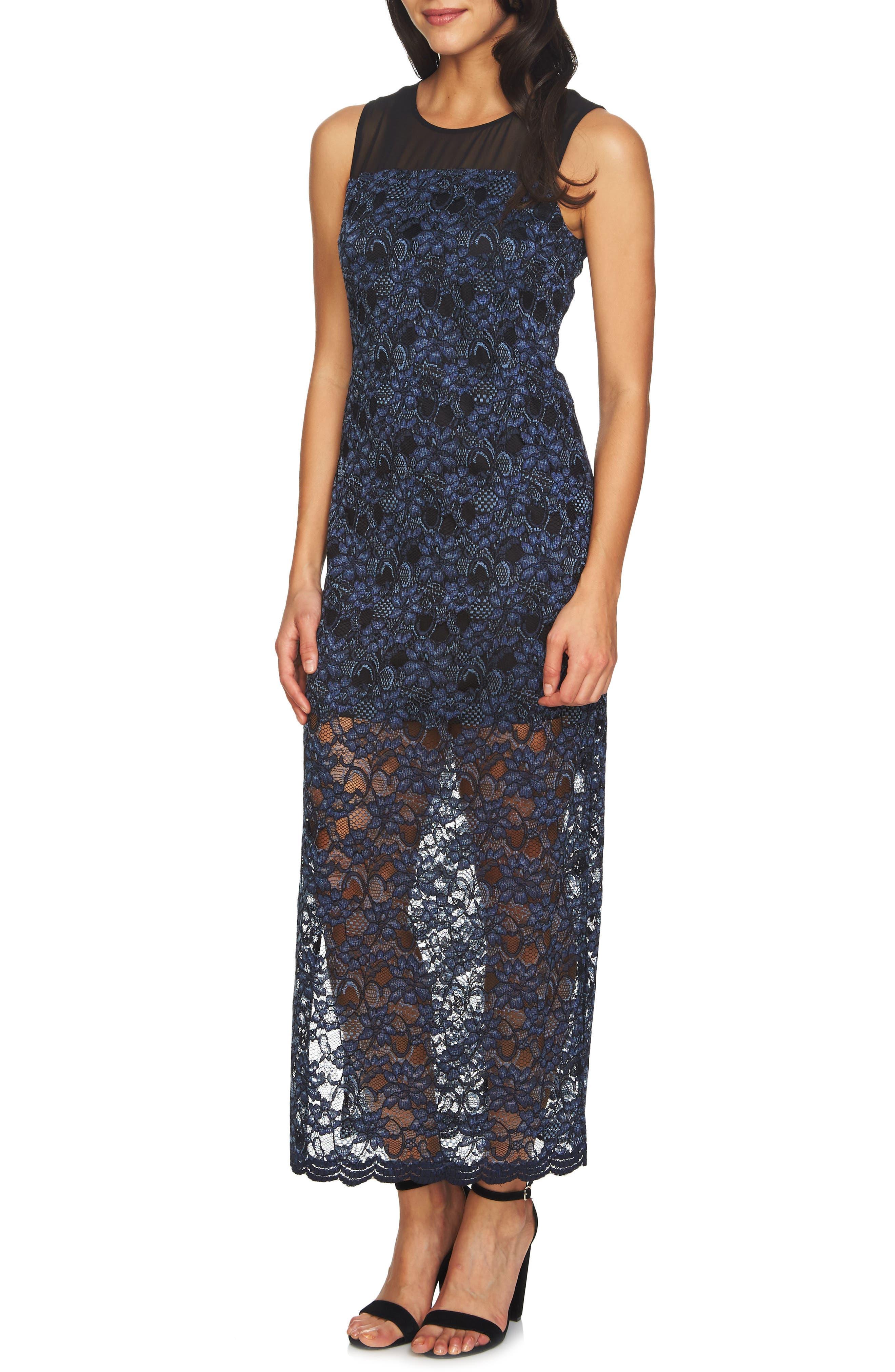 Mary Lace Maxi Dress,                             Main thumbnail 1, color,                             Rich Black