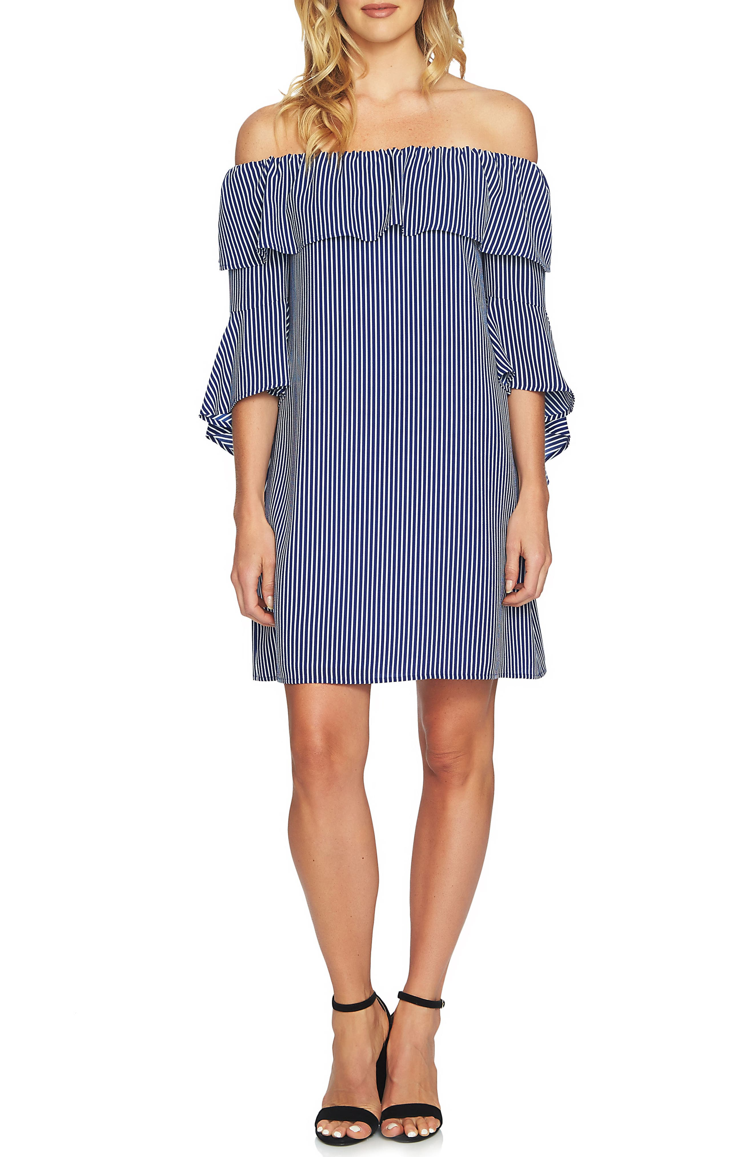 Off the Shoulder Shift Dress,                             Main thumbnail 1, color,                             Blue Abyss