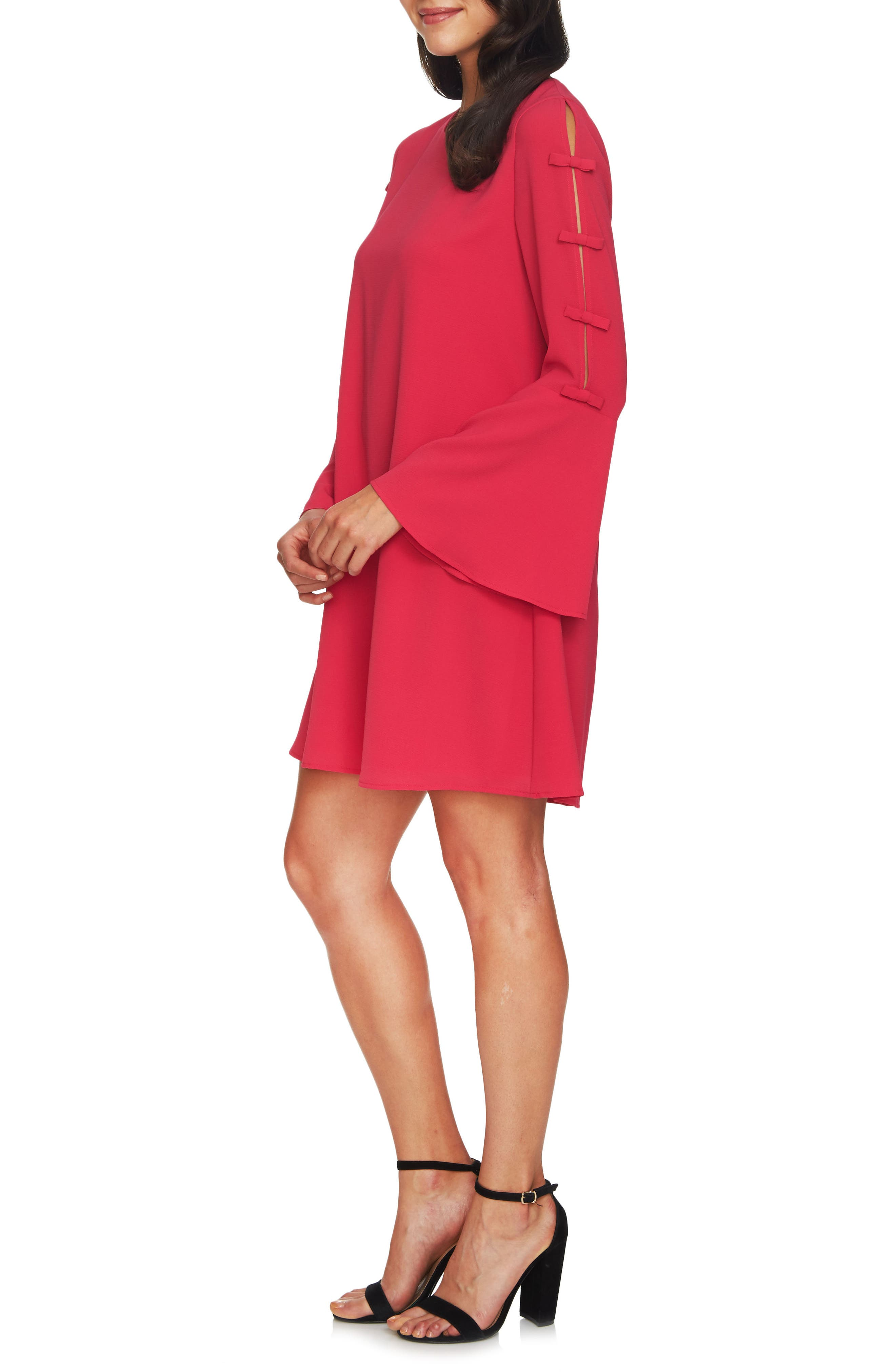 Abby Bell Sleeve Dress,                             Alternate thumbnail 3, color,                             Bright Rose