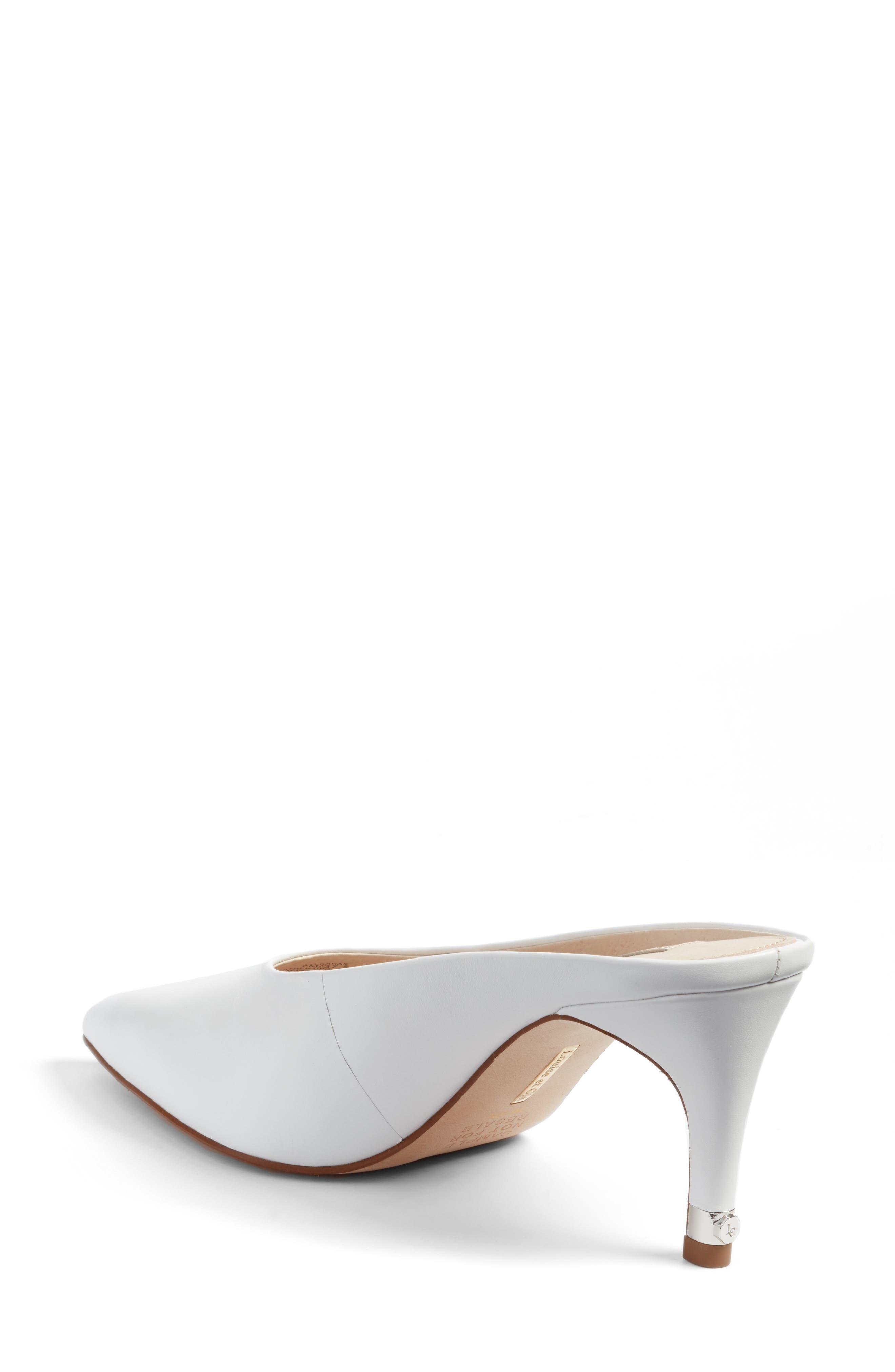 Karas Pointy Toe Slide Pump,                             Alternate thumbnail 2, color,                             White Leather