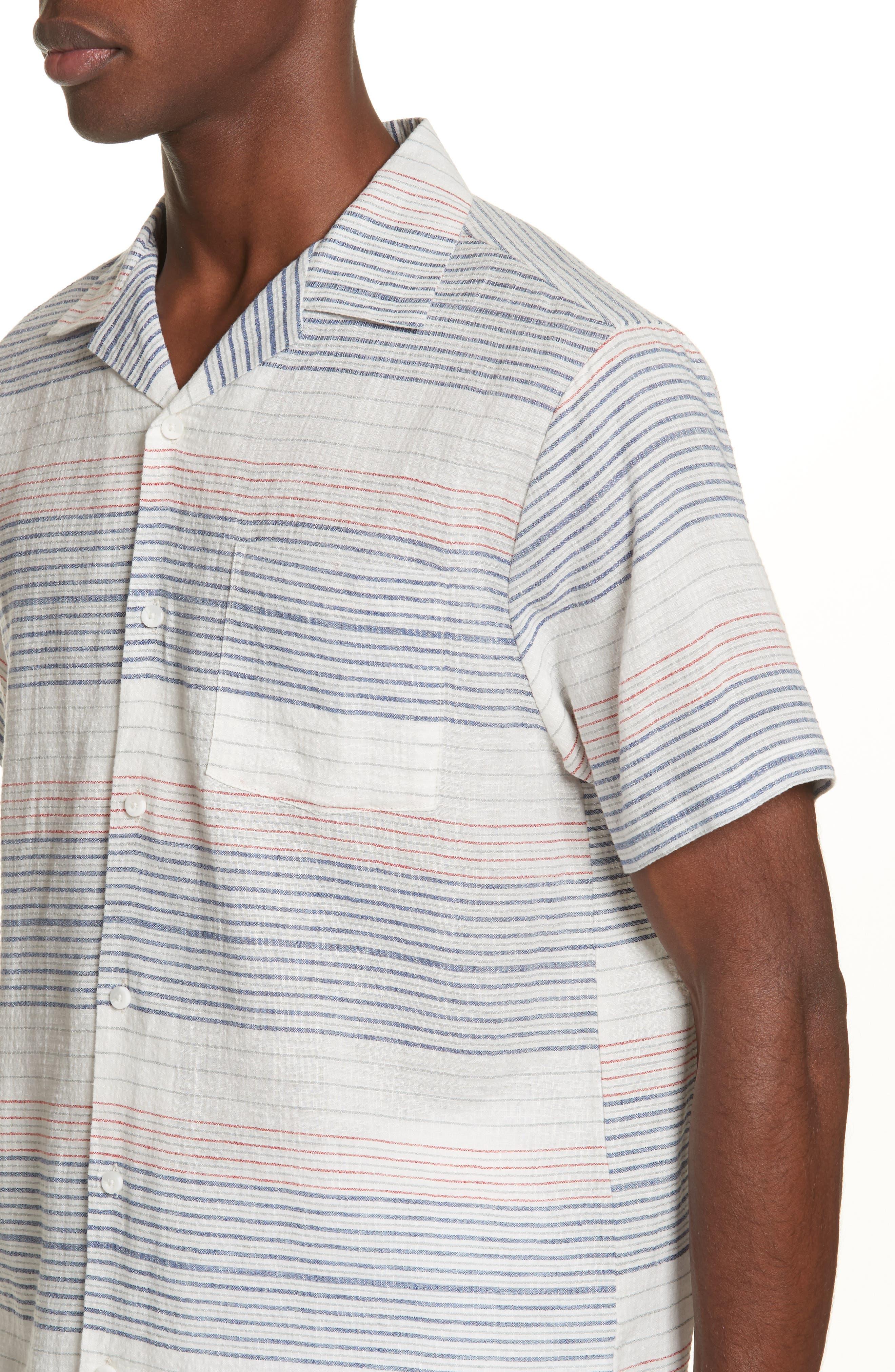 Americana Stripe Woven Camp Shirt,                             Alternate thumbnail 4, color,                             Multi