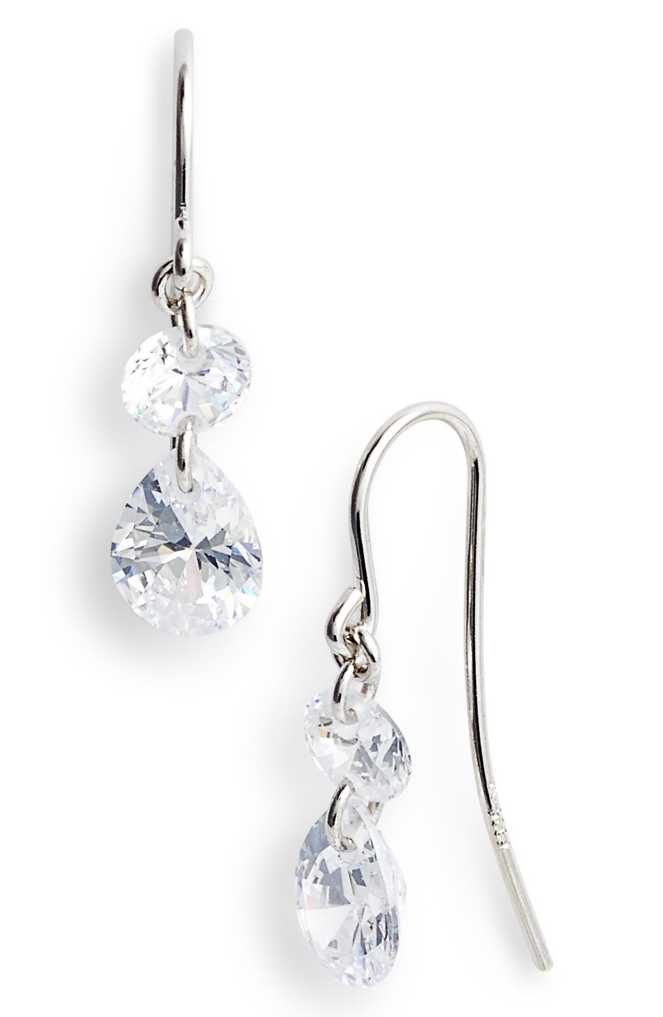 Briolette Two-Stone Drop Earrings,                             Main thumbnail 1, color,                             Platinum