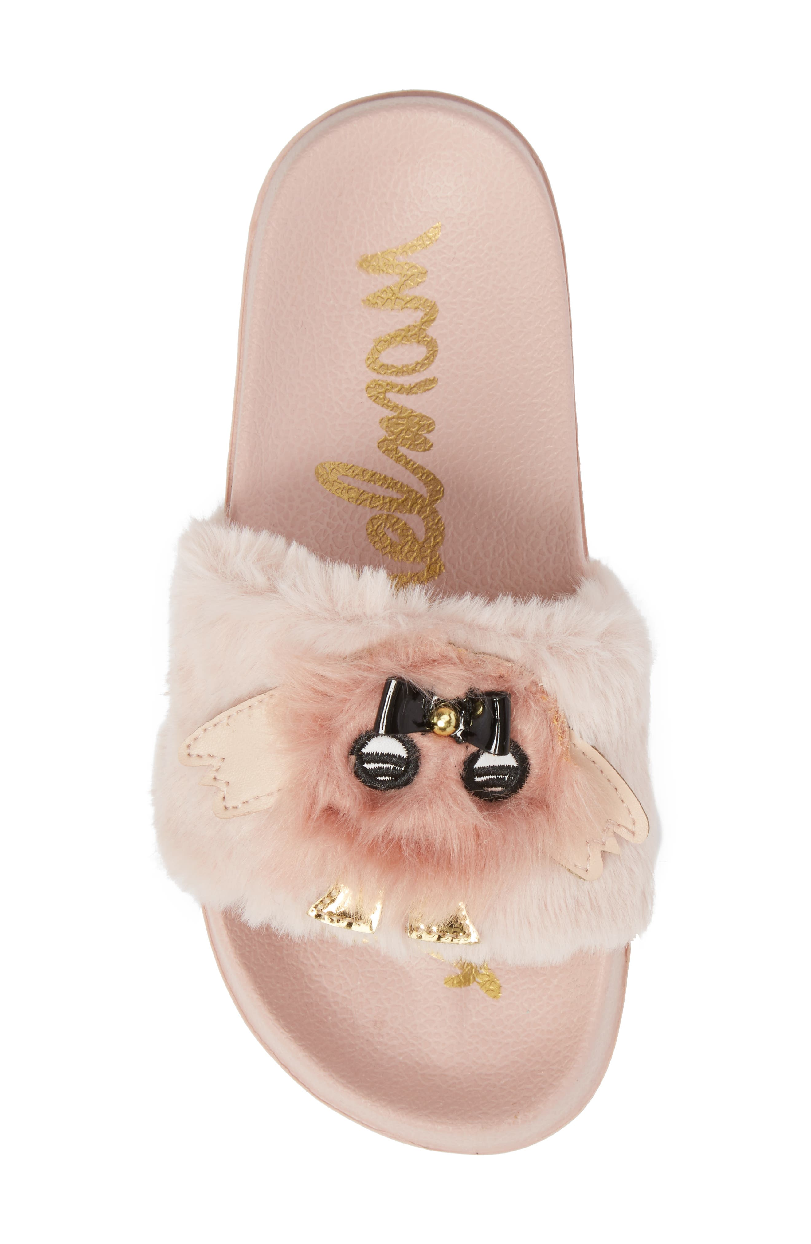 Mackie Furry Faux Fur Slide Sandal,                             Alternate thumbnail 5, color,                             Blush Faux Fur