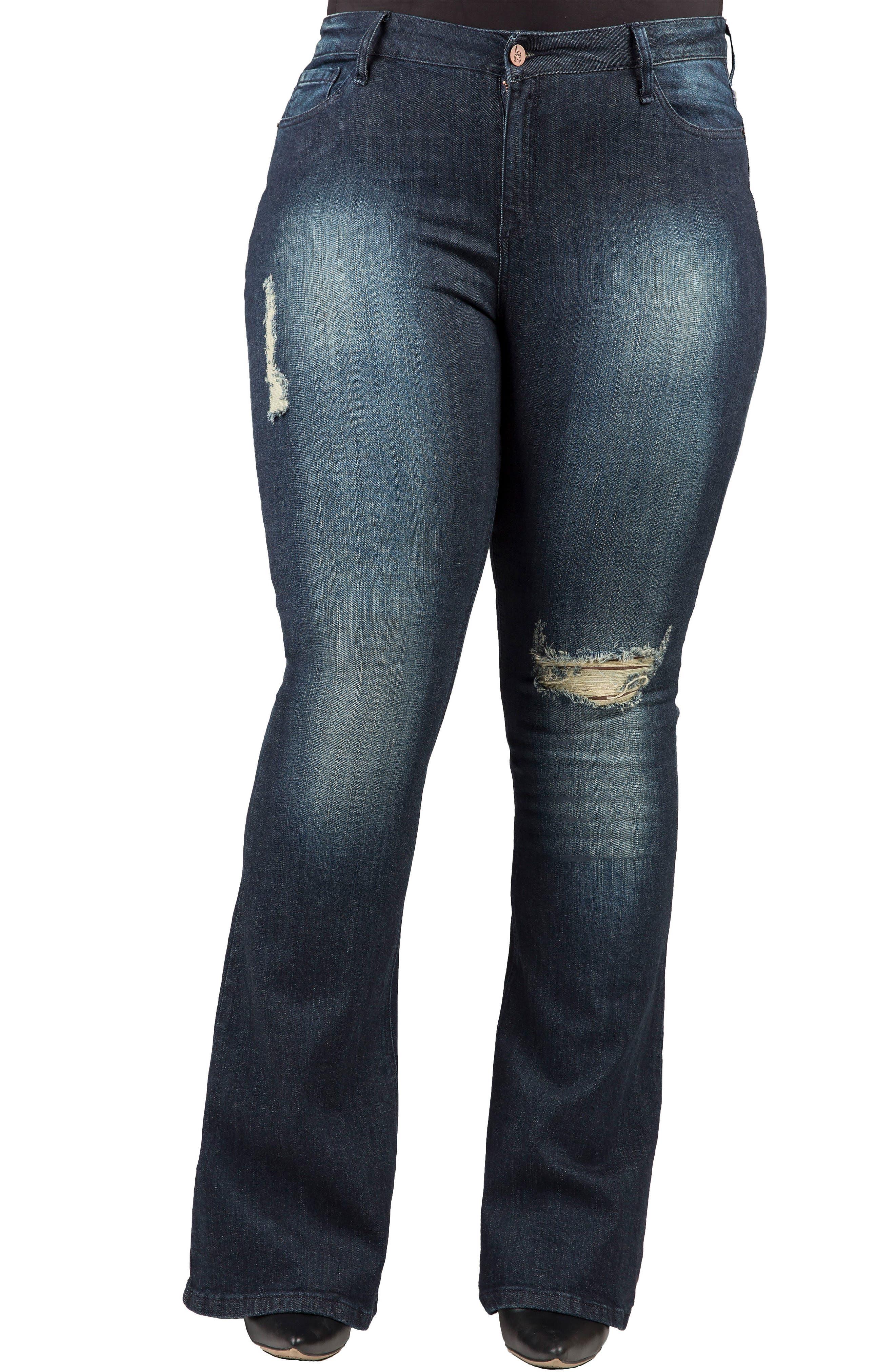 Kylie Curvy Fit Flare Leg Jeans,                         Main,                         color, 2942 Unforgiven Dark Blue