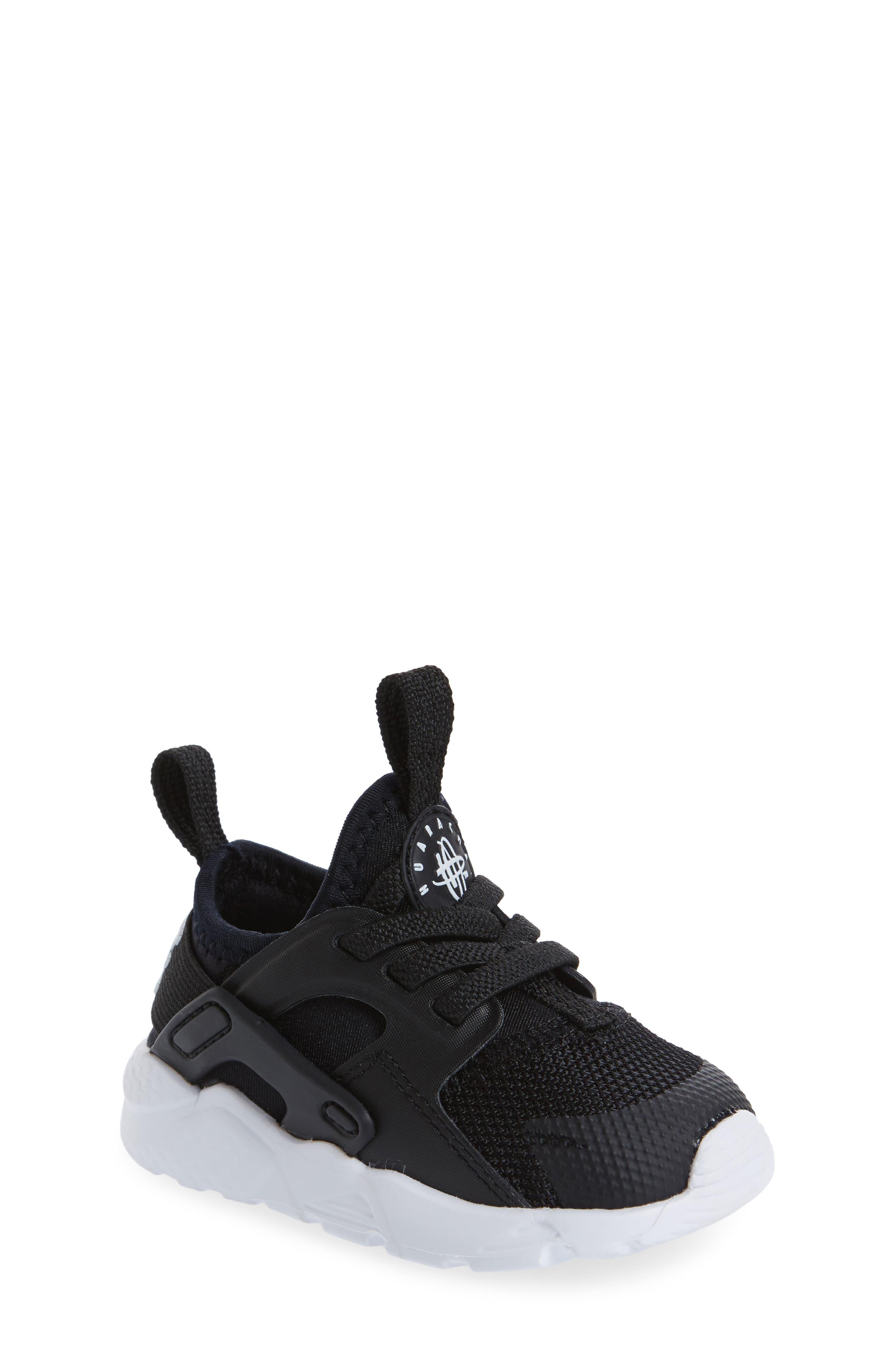 Air Huarache Run Ultra Sneaker,                             Main thumbnail 1, color,                             Black/ Black/ White