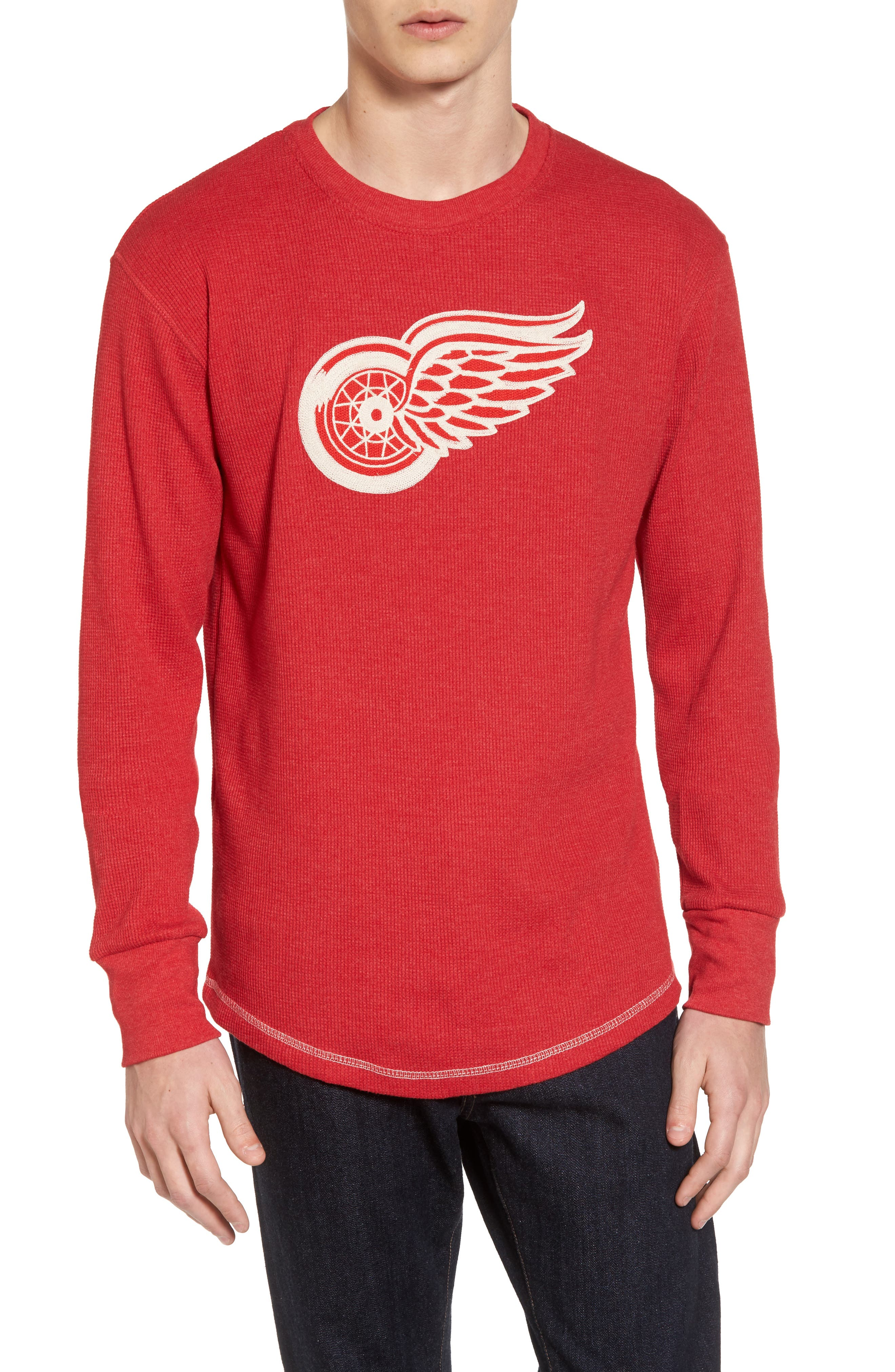 Detroit Red Wings Embroidered Long Sleeve Thermal Shirt,                             Main thumbnail 1, color,                             Red