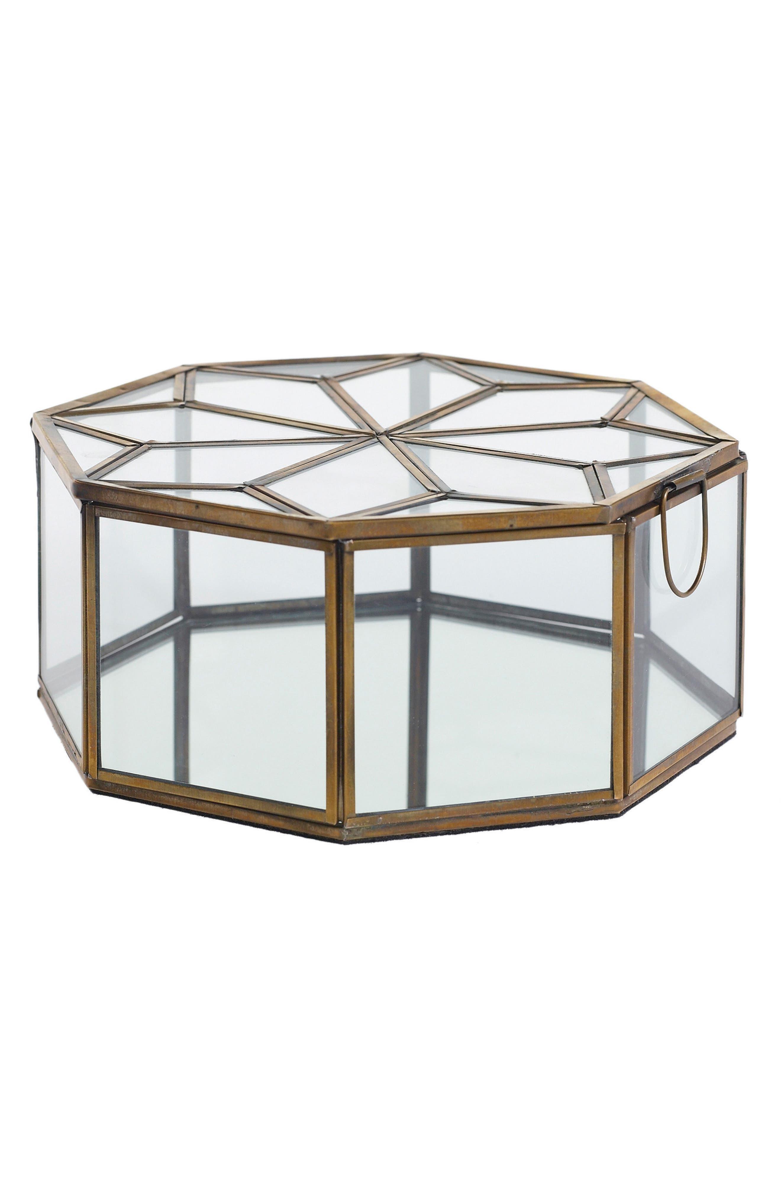 Dynasty Glass Jewelry Box,                         Main,                         color, Metallic Gold