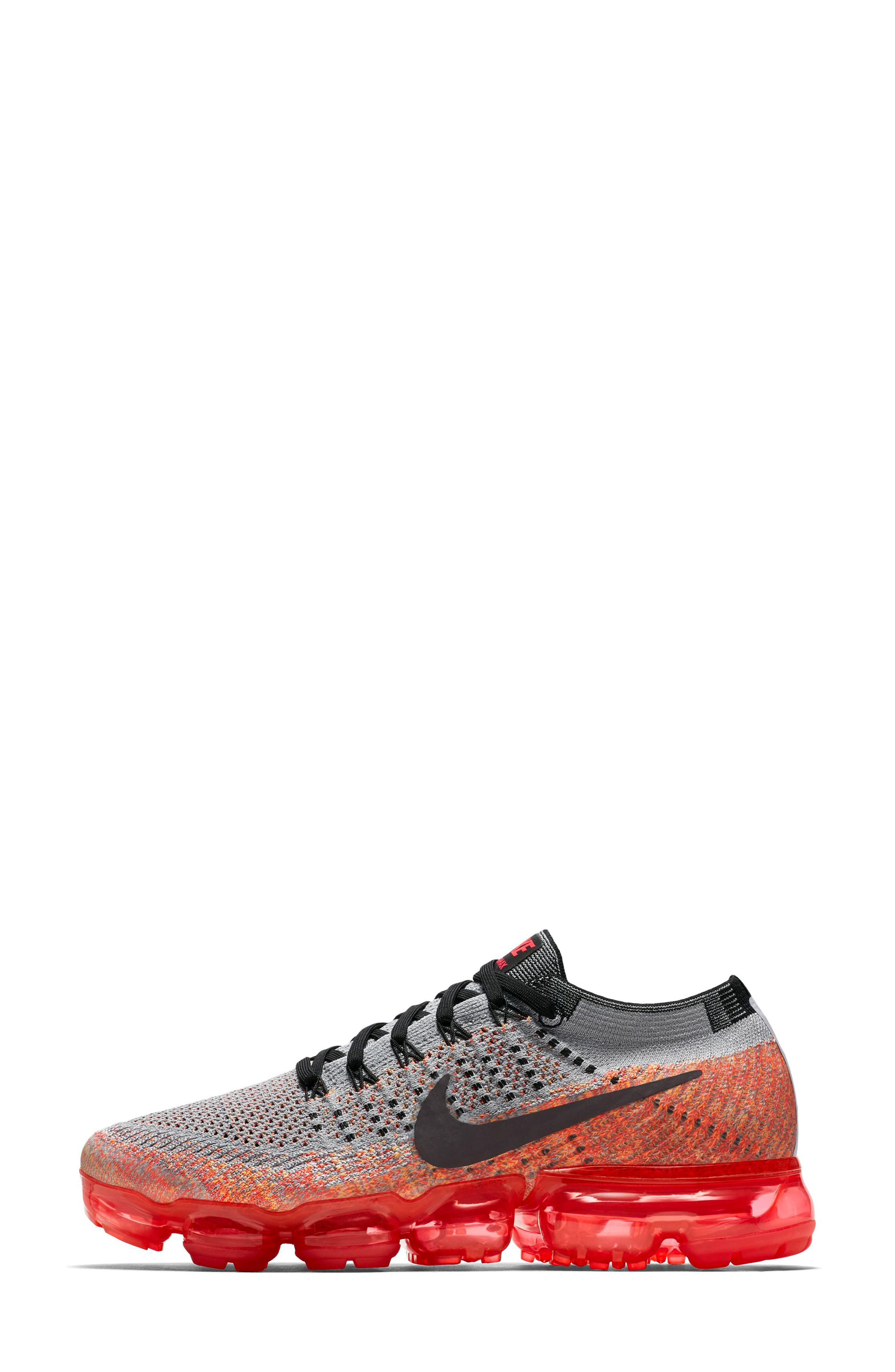 Air VaporMax Flyknit Running Shoe,                             Alternate thumbnail 2, color,                             Wolf Grey/ Black
