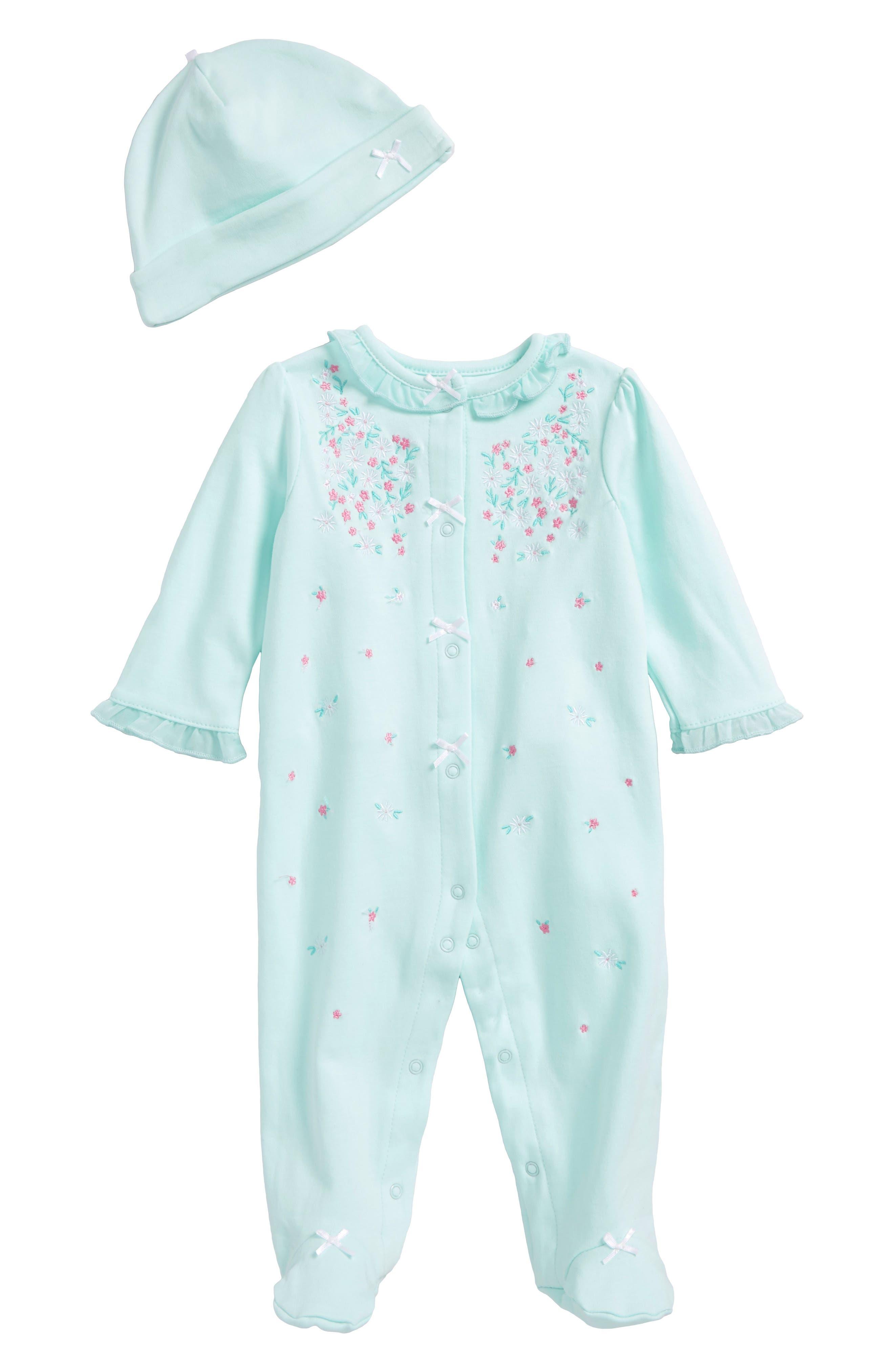 Main Image - Little Me Sweet Flower Footie & Hat Set (Baby Girls)