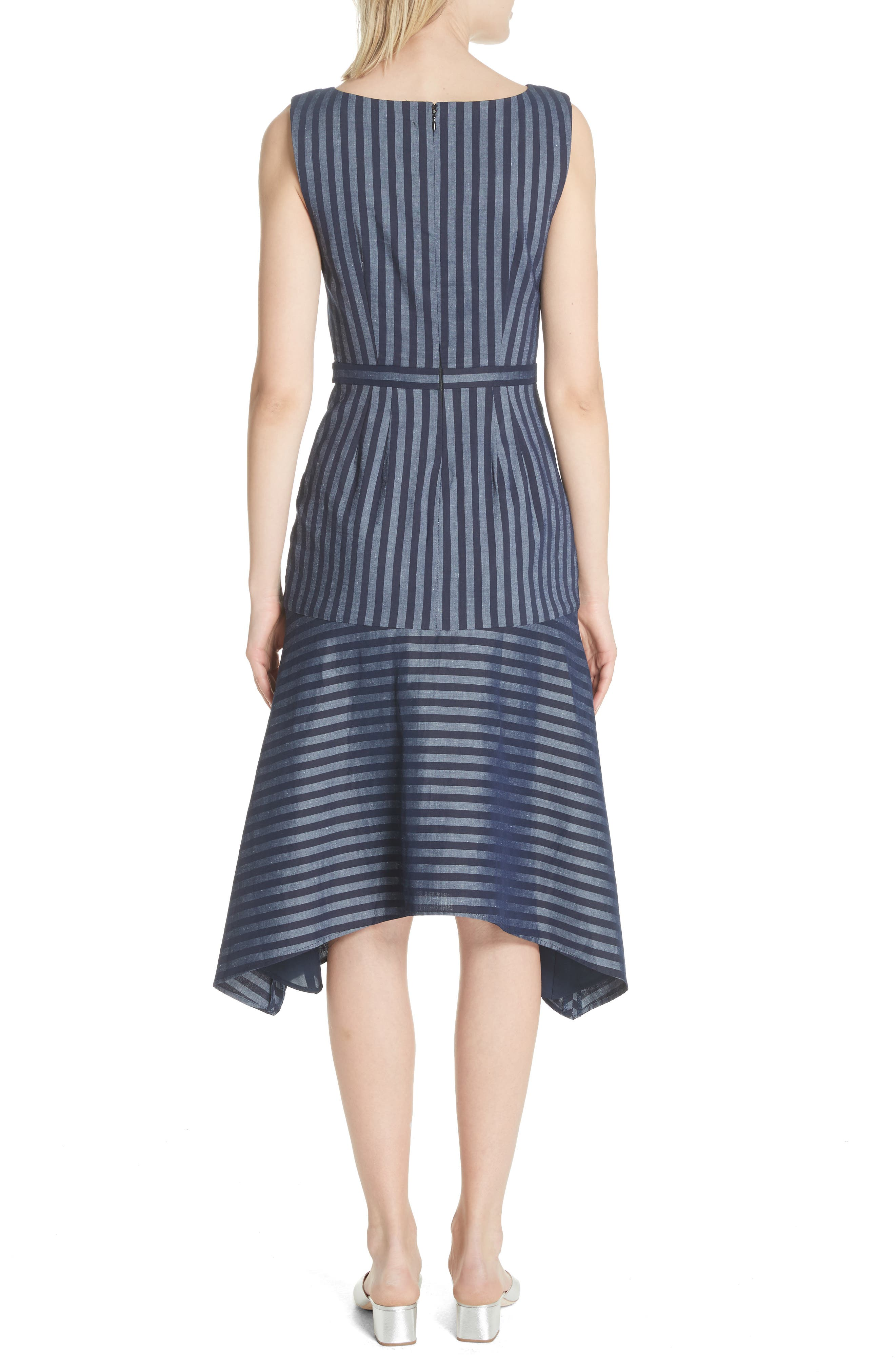 Directional Stripe A-Line Dress,                             Alternate thumbnail 2, color,                             India Ink
