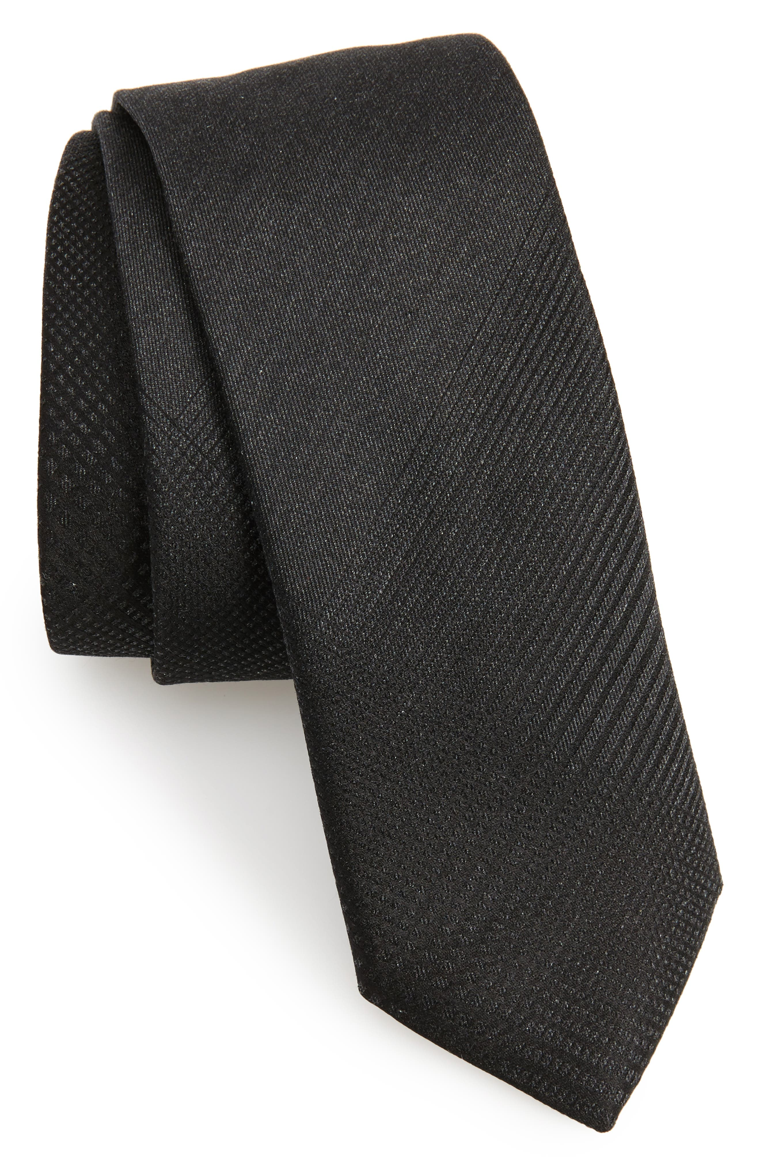 Tonal Check Silk Skinny Tie,                             Main thumbnail 1, color,                             Black