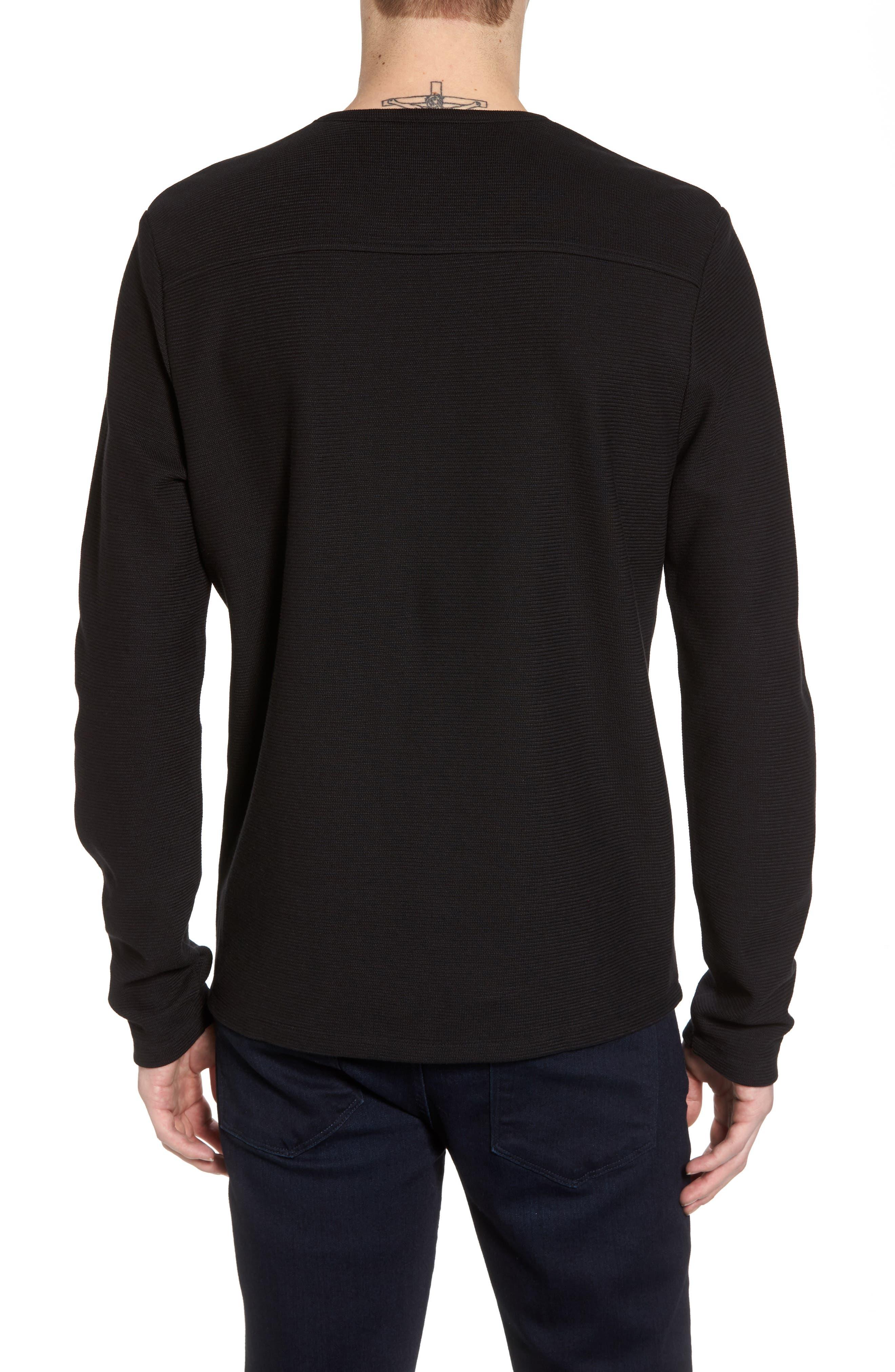 Side Zip Thermal Sweatshirt,                             Alternate thumbnail 2, color,                             Black