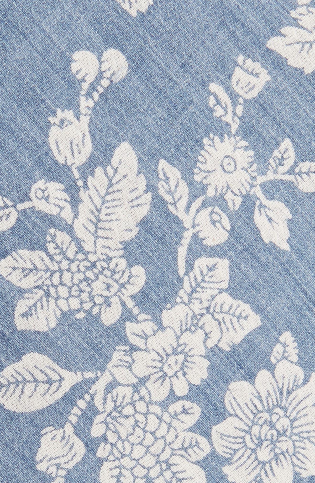 Floral Cotton Skinny Tie,                             Alternate thumbnail 2, color,                             Blue1