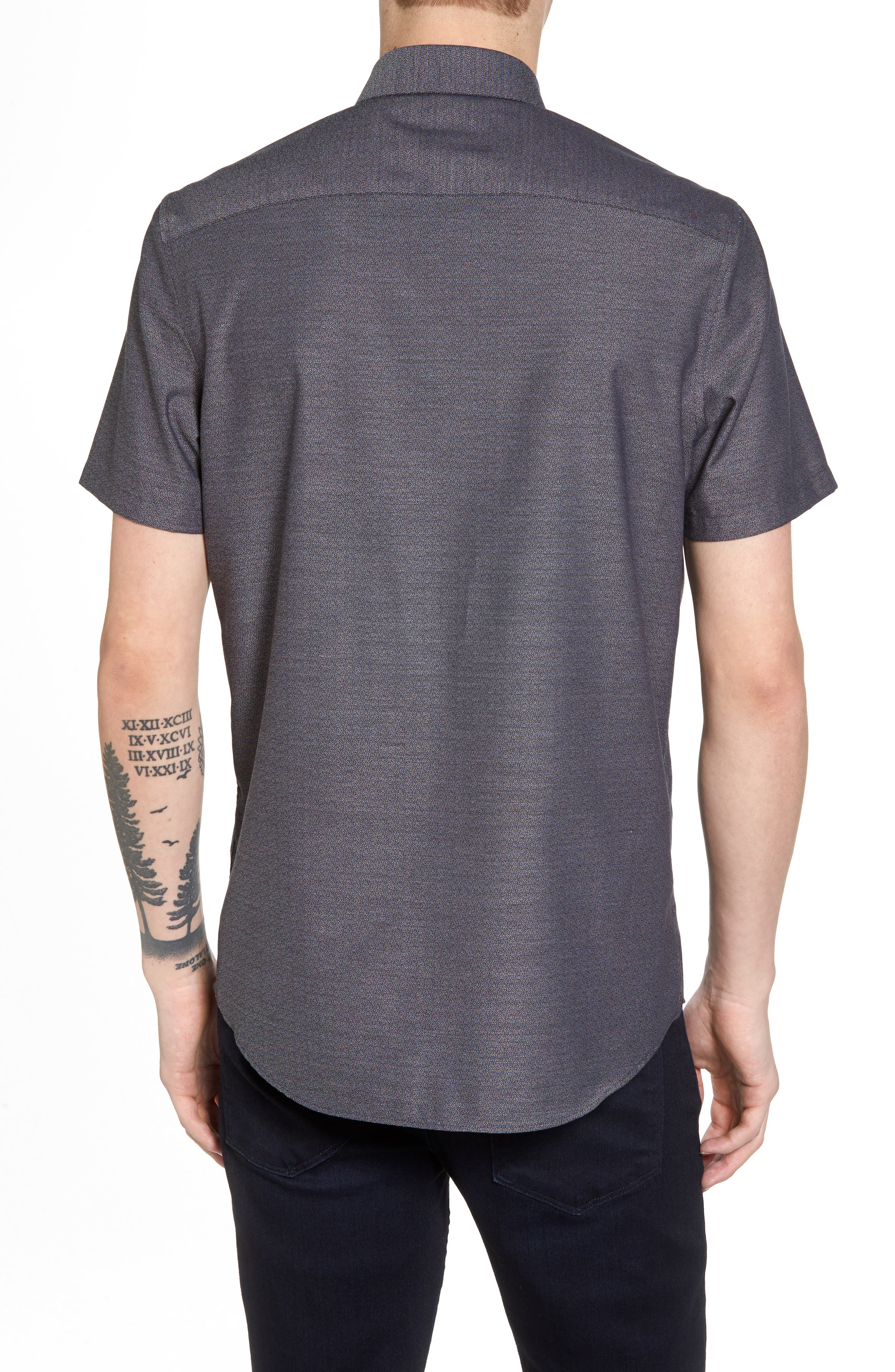 Trim Fit Jaspé Short Sleeve Sport Shirt,                             Alternate thumbnail 3, color,                             Navy Night Jacquard